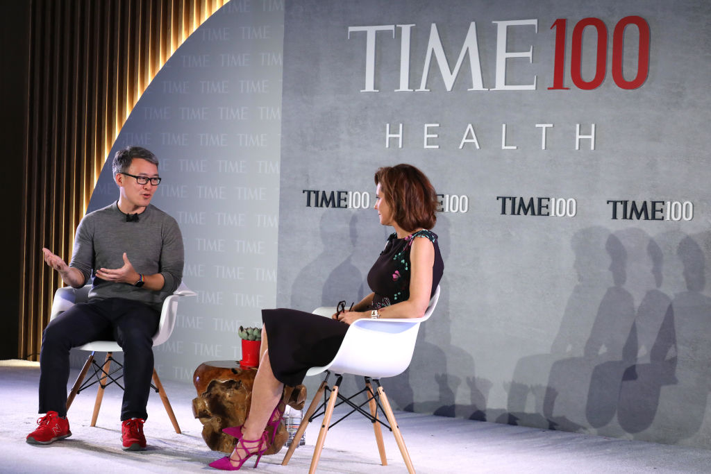 Fitbit CEO, President and Co-Founder James Park (L), speaks with MSNBC Live Anchor, Stephanie Ruhle, at the TIME 100 Health Summit on October 17, 2019 in New York City.