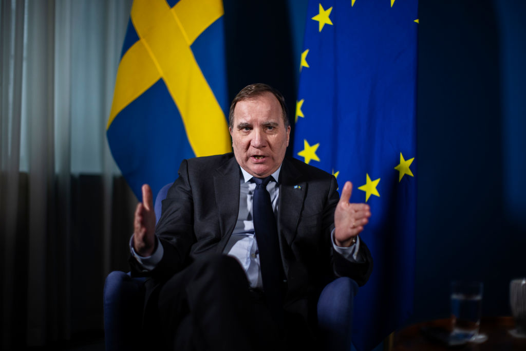 Sweden's Prime Minister Stefan Lofven is pictured during an interview on February 17, 2021 in Stockholm, Sweden.