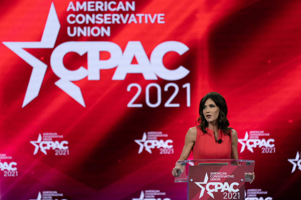 Kristi Noem, governor of South Dakota, speaks during the Conservative Political Action Conference (CPAC) in Orlando, Florida, on Feb. 27, 2021.