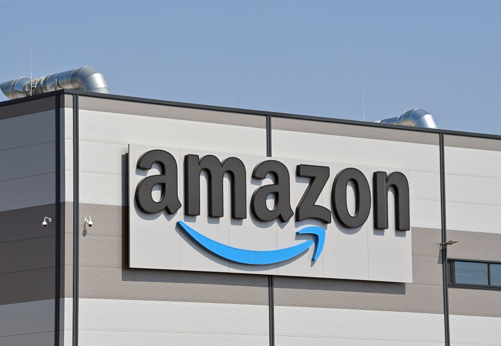 The Amazon logo seen on April 28 2021 at its warehouse in Kiekebusch, Germany