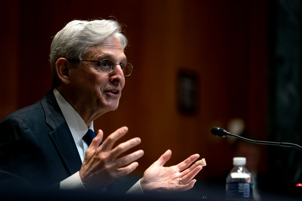 U.S. Attorney General Merrick Garland speaks during a Senate Appropriations Subcommittee on Commerce, Justice, Science, and Related Agencies hearing in Washington, D.C., on June 9, 2021.