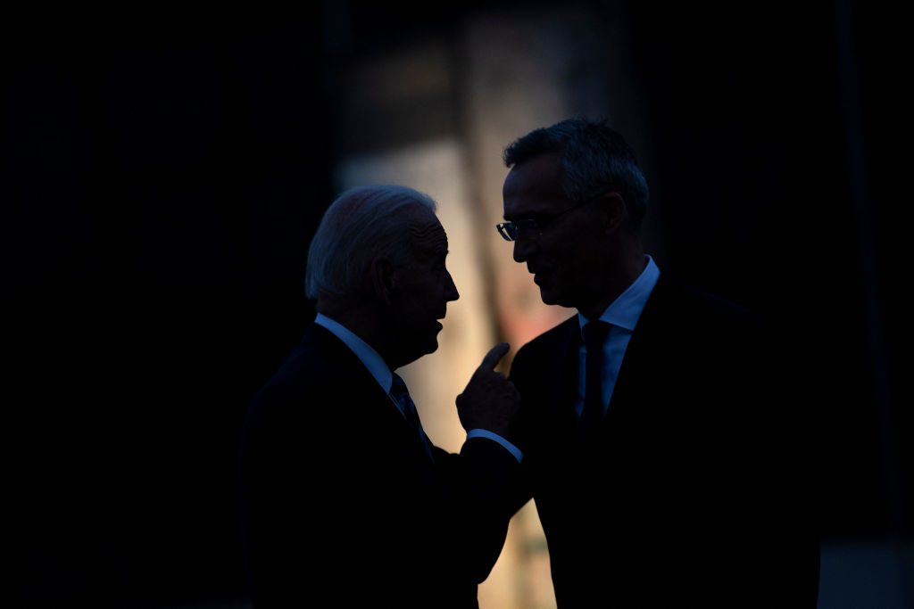 President Joe Biden and NATO Secretary General Jens Stoltenberg, right, talk after a summit at NATO Headquarters in Brussels on June 14, 2021.