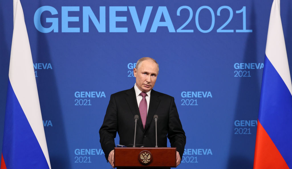 Russia's President Vladimir Putin gives a news conference following a summit with US President Joe Biden at the Villa La Grange on June 16, 2021.