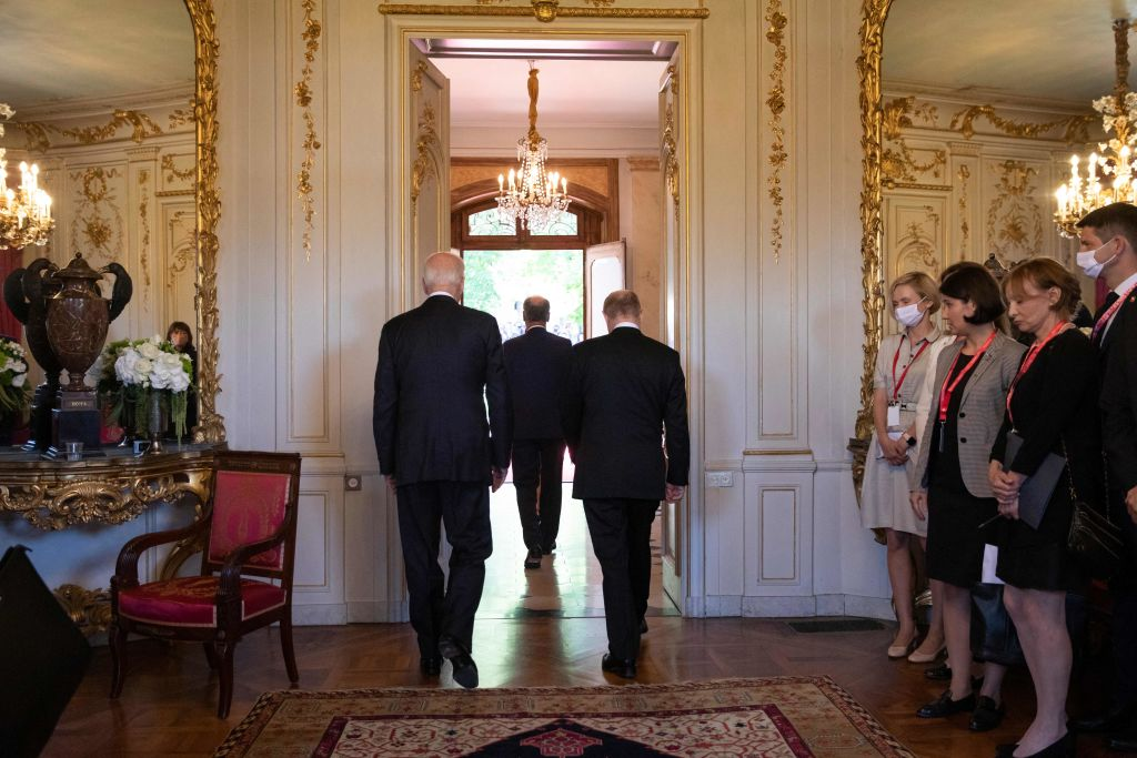 Swiss Federal president Guy Parmelin, center, U.S. President Joe Biden, left, and Russian President Vladimir Putin walk out to meet the media after their arrival at the villa La Grange, during the US - Russia summit in Geneva, on June 16, 2021.