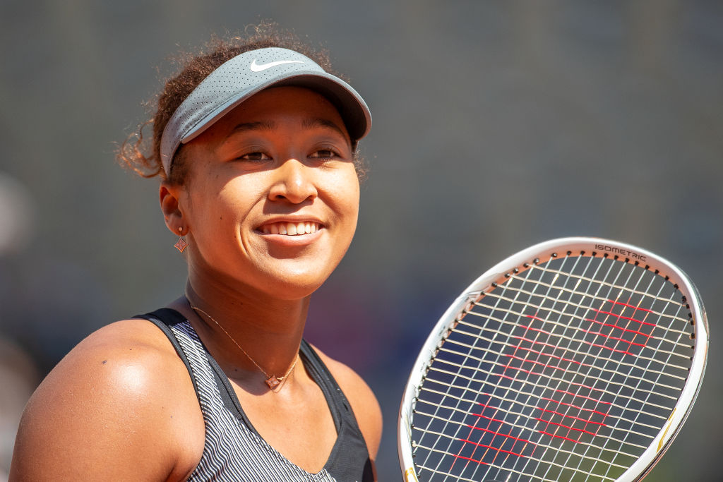Naomi Osaka of Japan during her match against Patricia Maria Tig of Romania in the first round of the Women's Singles competition on Court Philippe-Chatrier at the 2021 French Open Tennis Tournament at Roland Garros on May 30, 2021, in Paris, France.