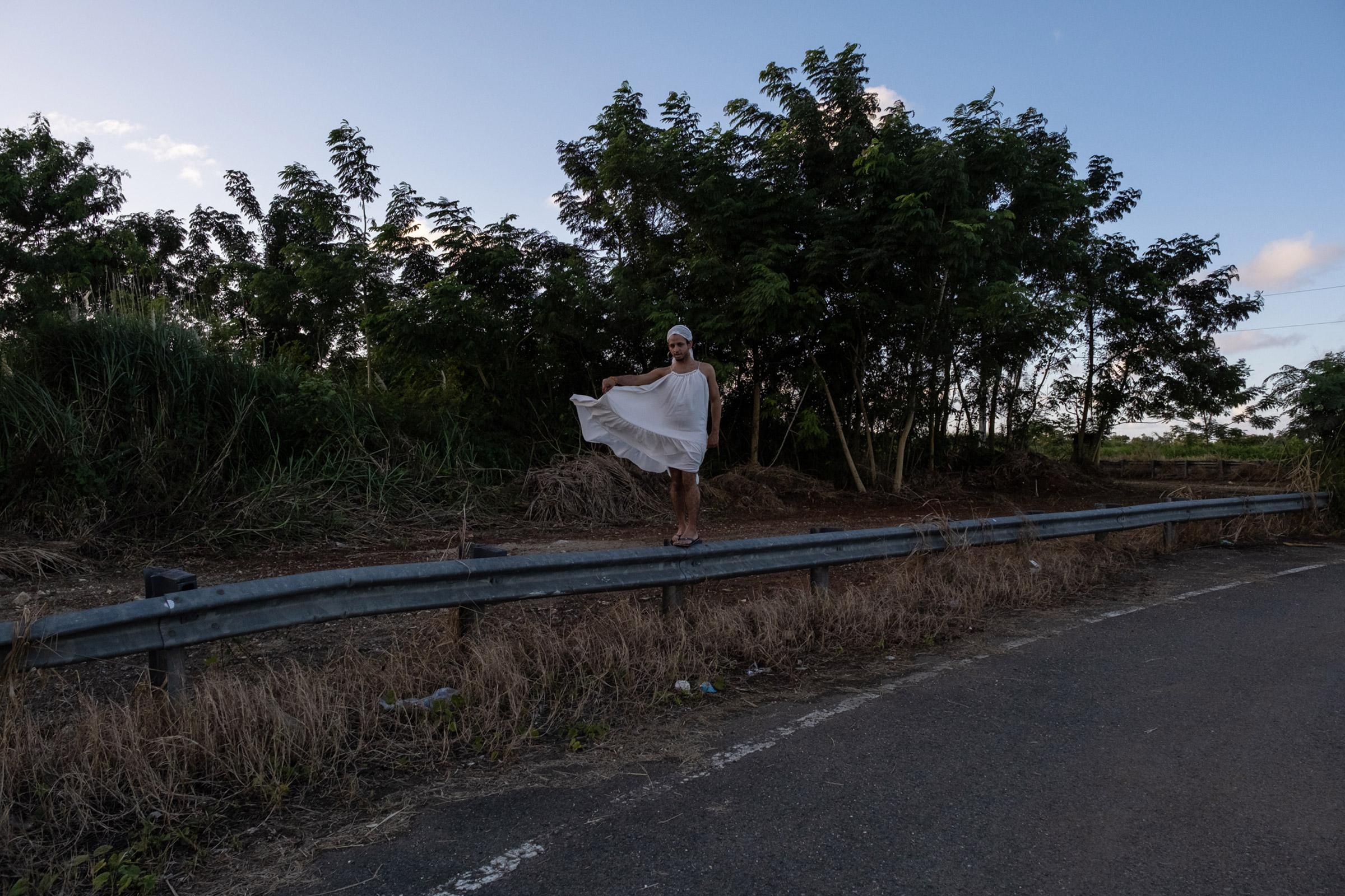 Gabi Grace, 21, poses for a portrait in Toa Baja, Puerto Rico.