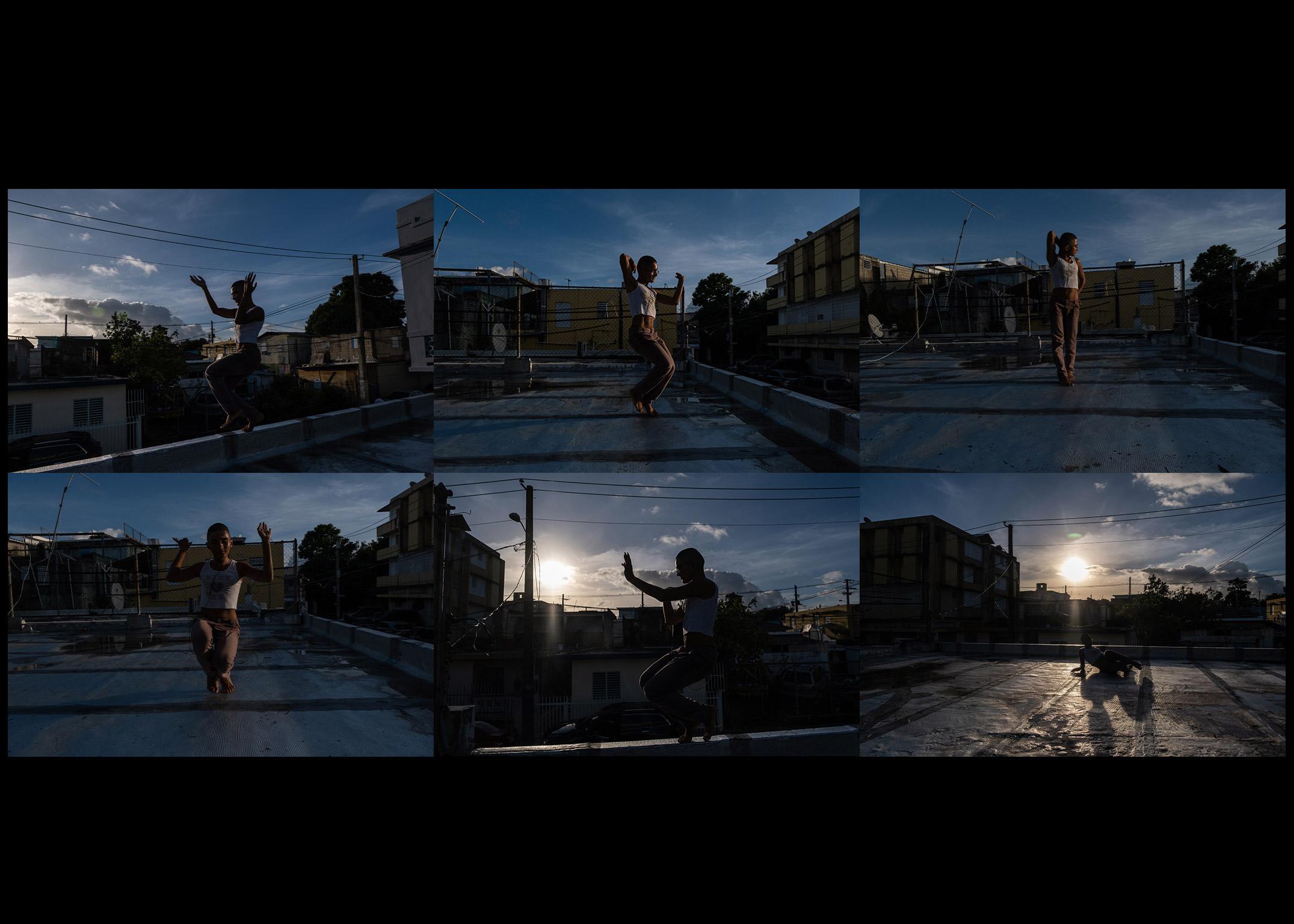 Beibijavi, 22, practices voguing on the rooftop of their neighbors' apartment in Rio Piedras, San Juan, Puerto Rico.