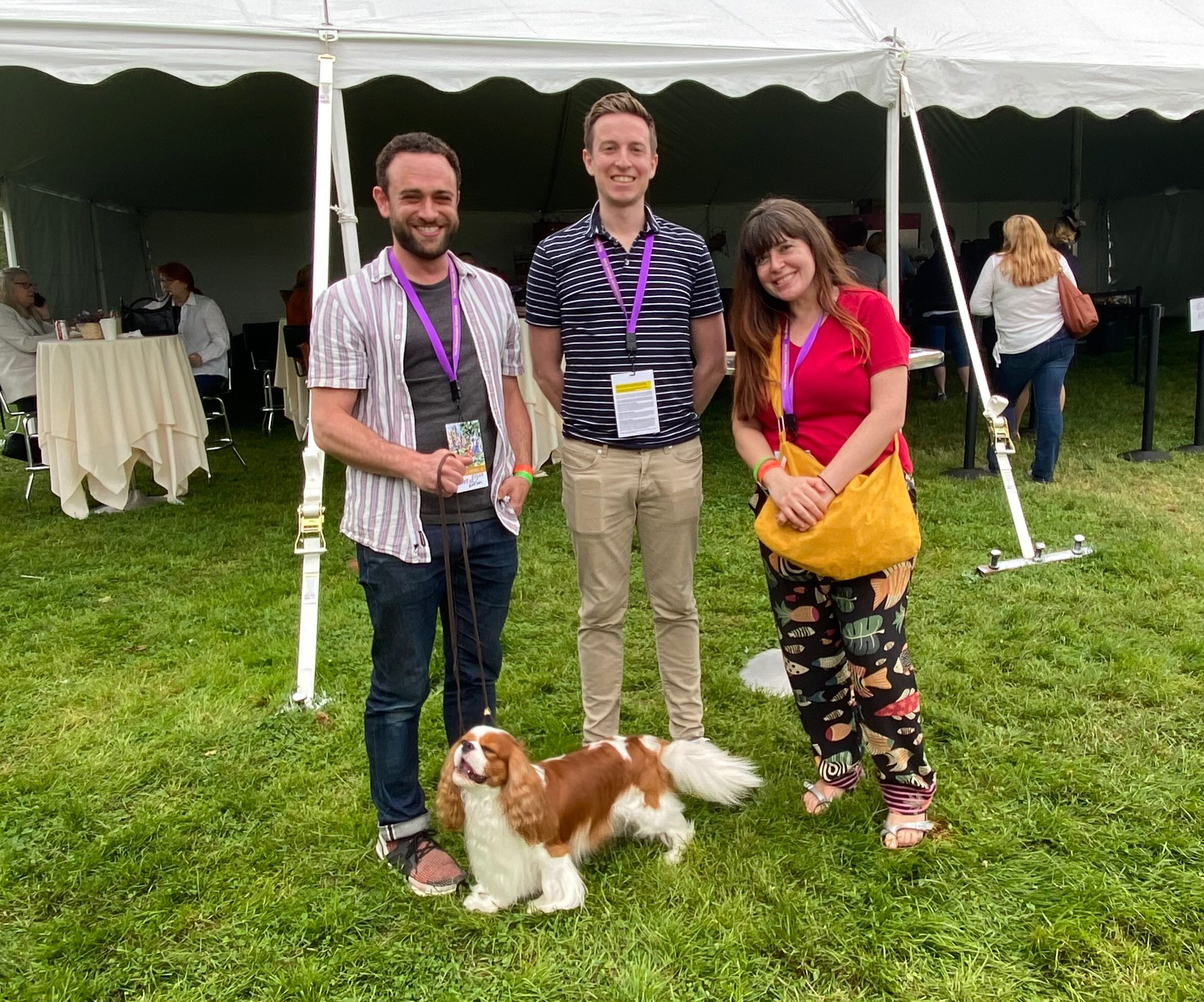 Clockwise, starting with the dog: Chester, the award-winning Cavalier King Charles Spaniel; Elijah Wolfson, TIME editor; Joey Lautrup, TIME video producer; Sarah Todd, Quartz journalist.