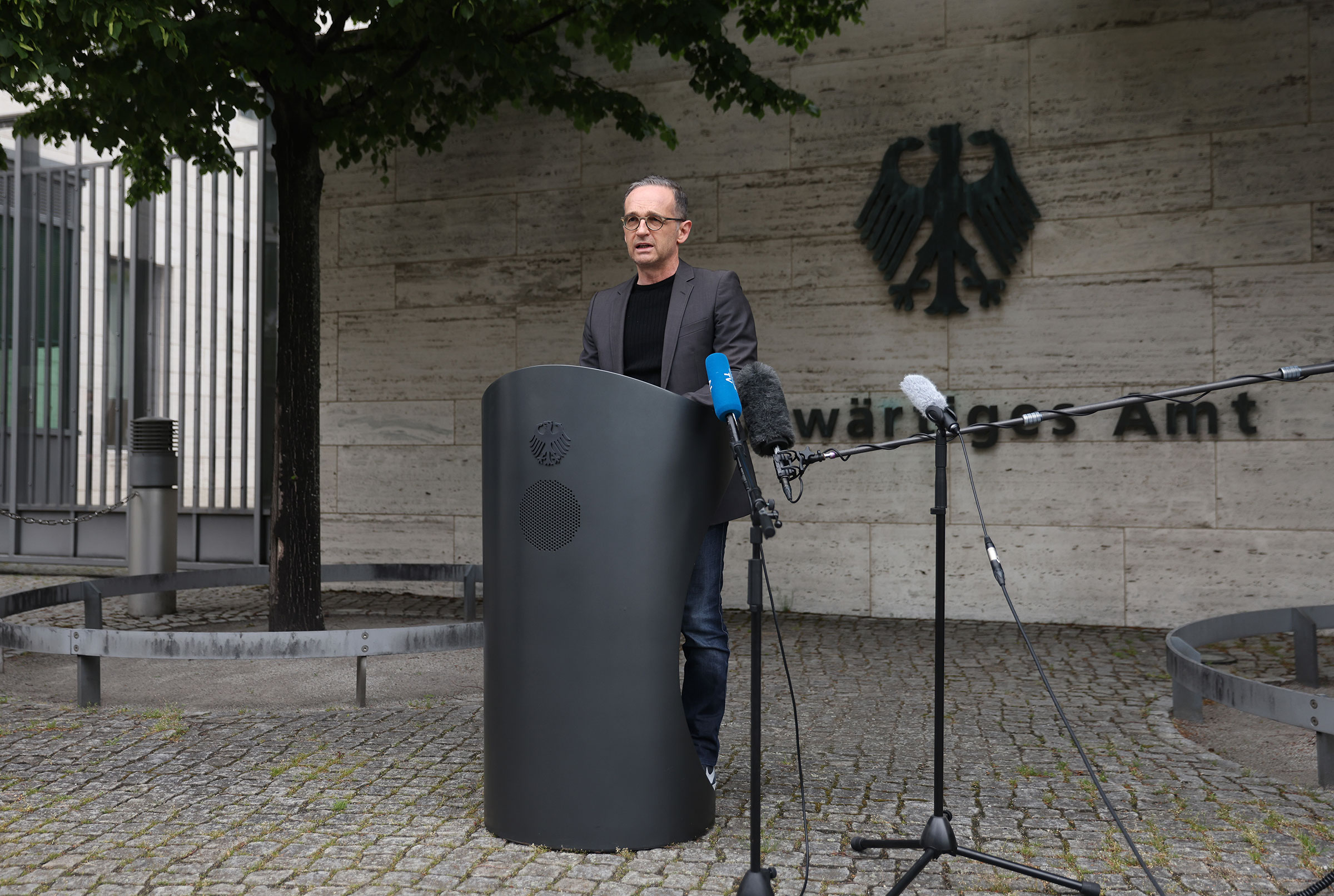 German Foreign Minister Heiko Maas speaks to the media to confirm that Germany has reached an agreement with Namibia over Germany's admitted colonial-era genocide in Berlin, Germany on May 28, 2021.