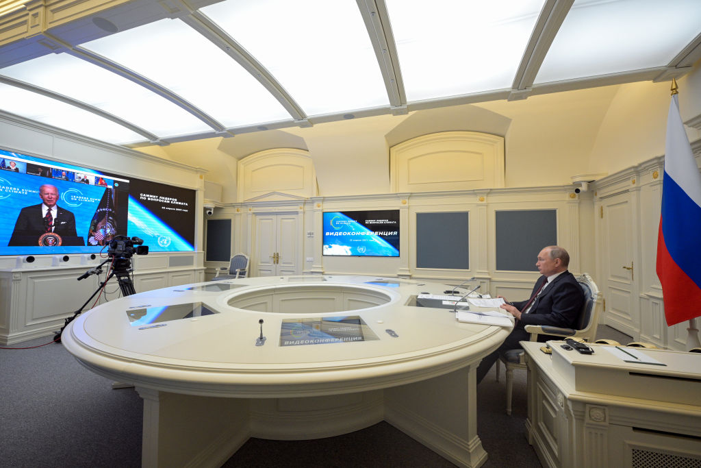 Russia's President Vladimir Putin attends the online Leaders Summit on Climate hosted by U.S. President Joe Biden on April 22, 2021
