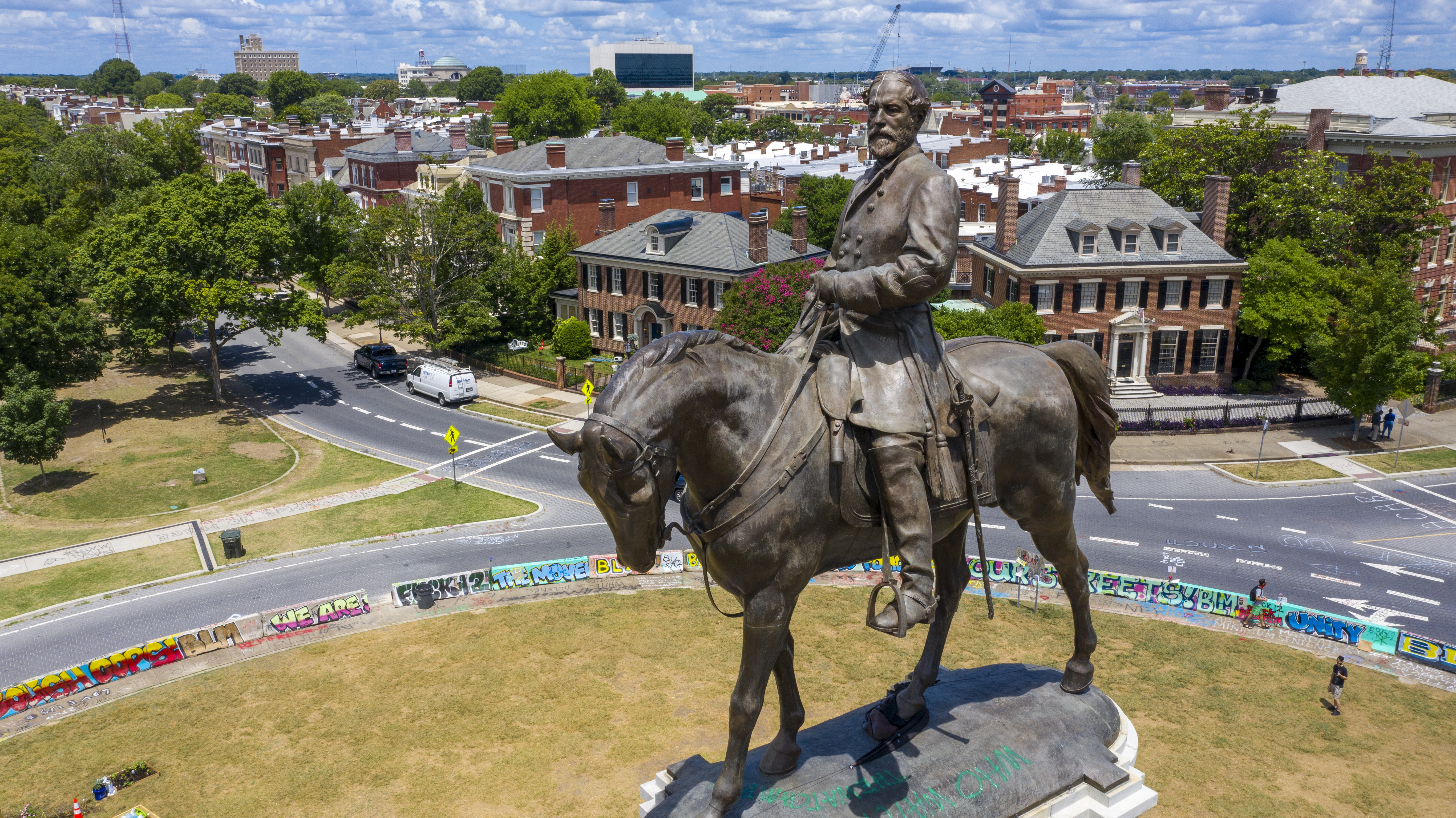 In this photo is the statue of Confederate General Robert E. Lee Monument Avenue in Richmond, Va, July 10, 2020.