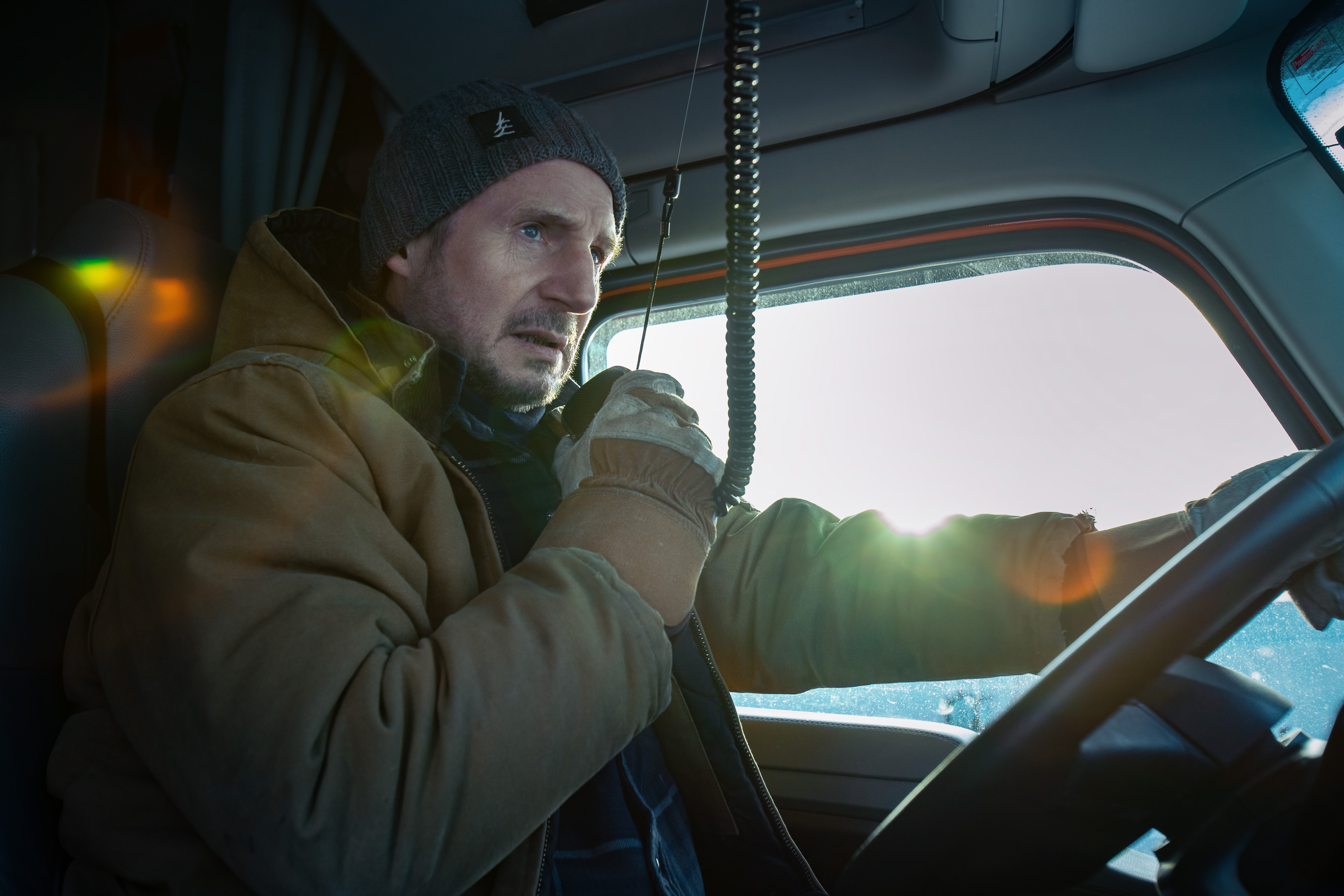 Liam Neeson drives over icy roads in the aptly titled 'The Ice Road'