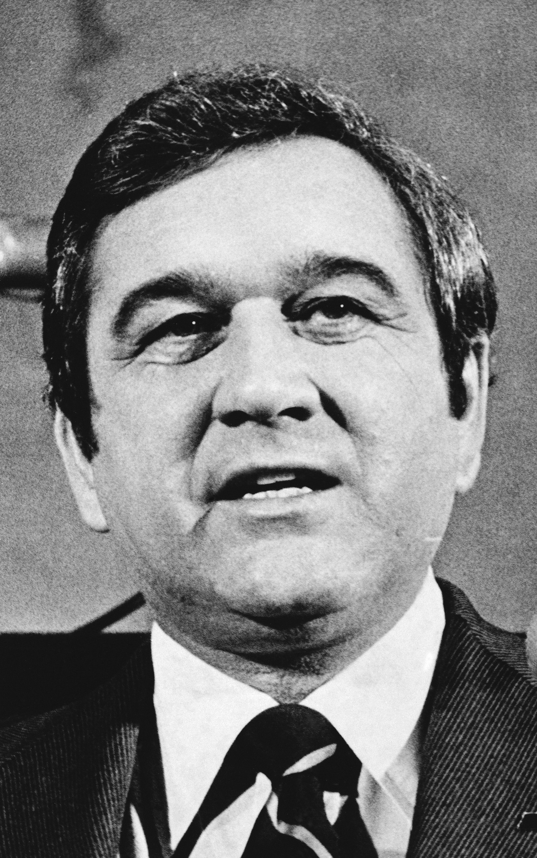 In this Jan. 11, 1979, file photo, Tennessee Gov. Ray Blanton appears before a joint session to give his final State of the State message in Nashville before leaving office on Jan. 20. Law enforcement officials announced Wednesday, June 9, 20201, the closing a 42-year-old cold case of Samuel Pettyjohn, a Chattanooga businessman who was shot and killed in 1979 in a contract killing that former Gov. Ray Blanton's administration helped pay for.
