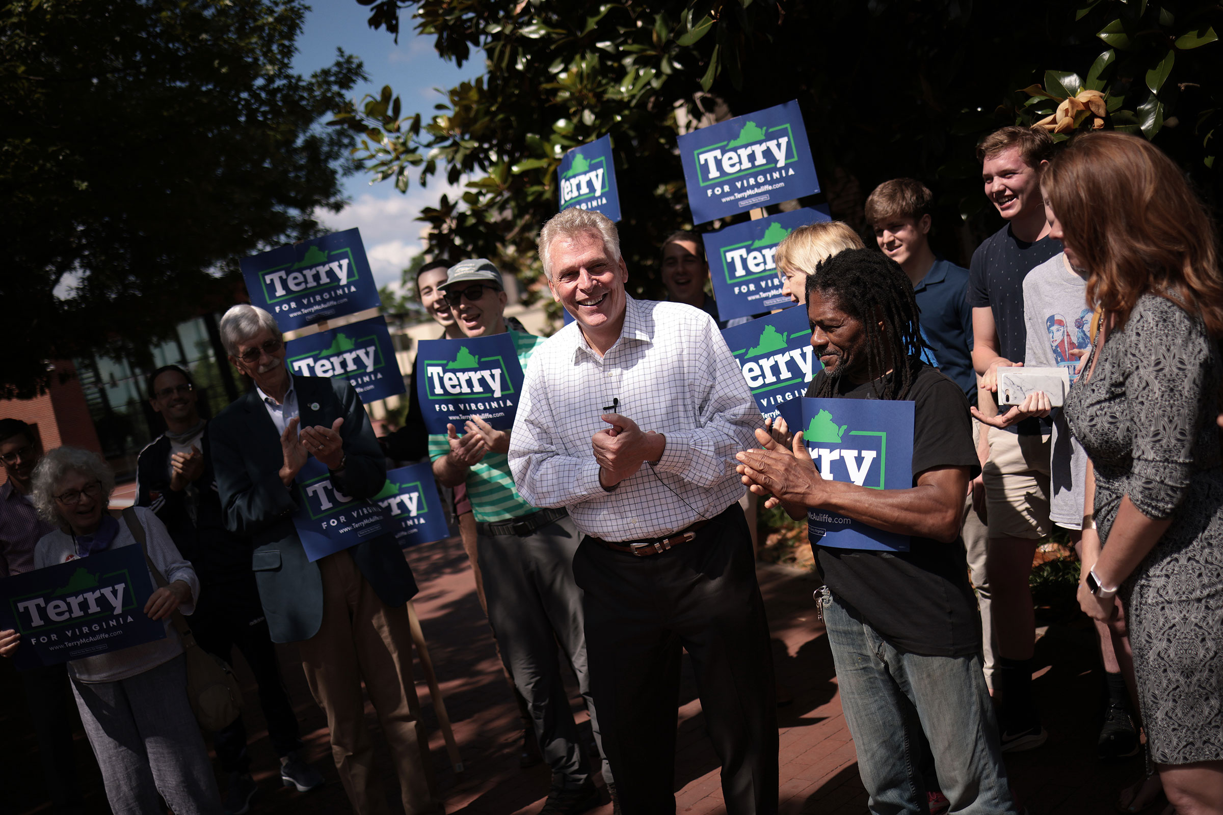 Former Virginia Gov. Terry McAuliffe speaks to supporters while campaigning in Charlottesville, Va. on June 4, 2021.