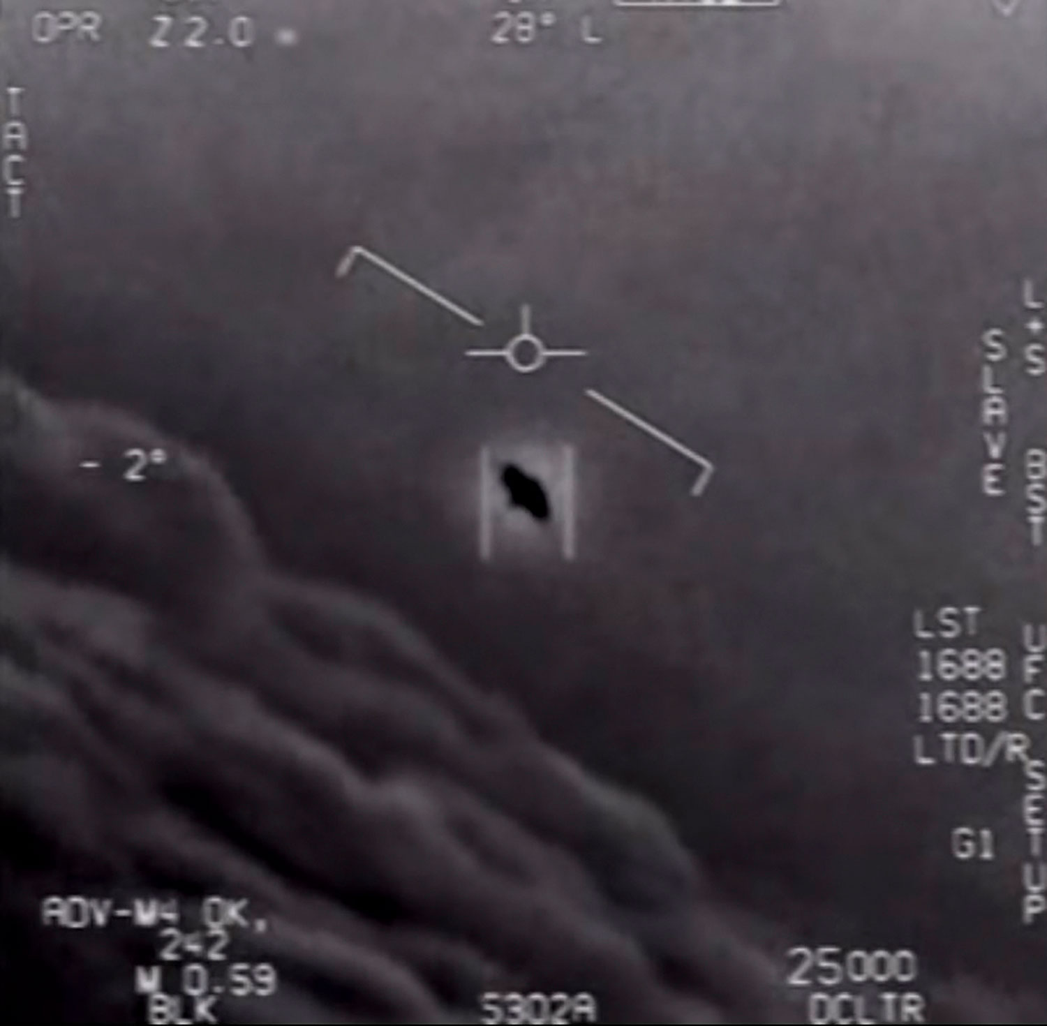 A video still obtained on April 26, 2020 courtesy of the Department of Defense shows part of an unclassified video taken by Navy pilots showing interactions with  unidentified aerial phenomena .