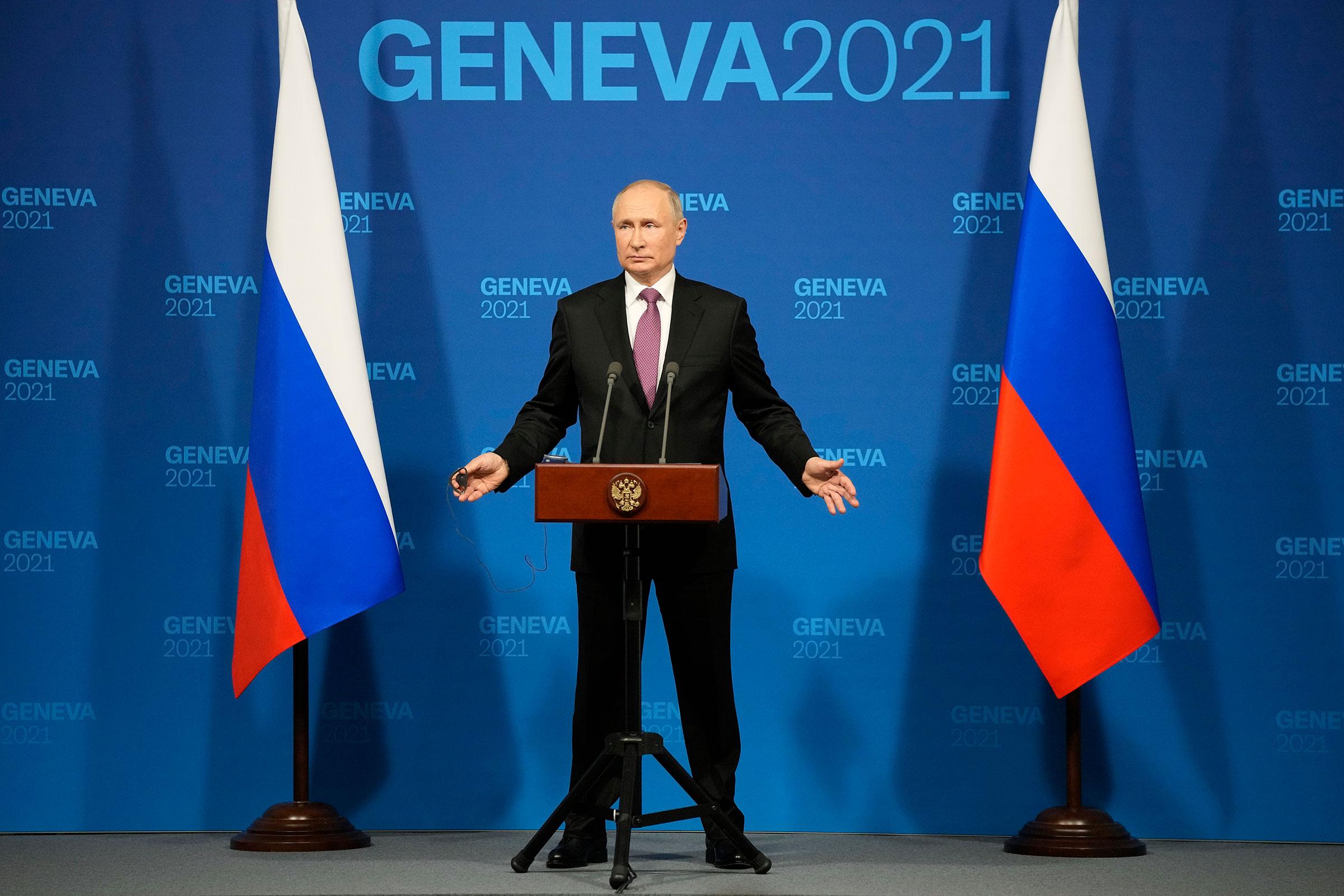 Russian President Vladimir Putin speaks during a news conference after his meeting with U.S. President Joe Biden in Geneva, Switzerland on June 16, 2021.