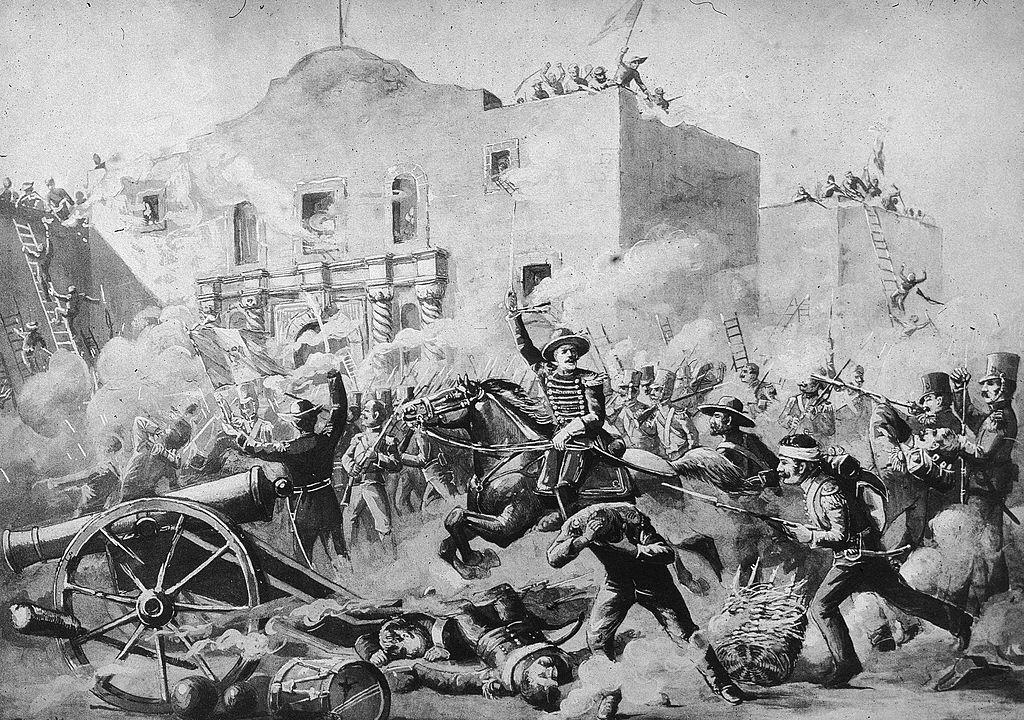 Illustration of the Battle of the Alamo, San Antonio, Texas, March 6, 1836.
