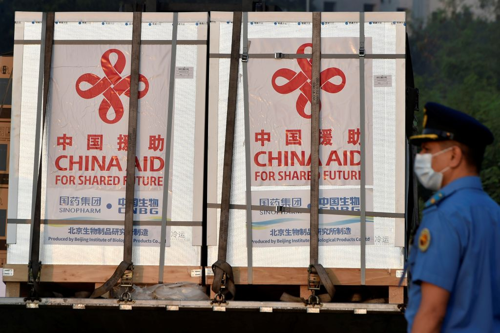 China-donated COVID-19 vaccines are unloaded from a military transport plane in Dhaka, Bangladesh on May 12, 2021.