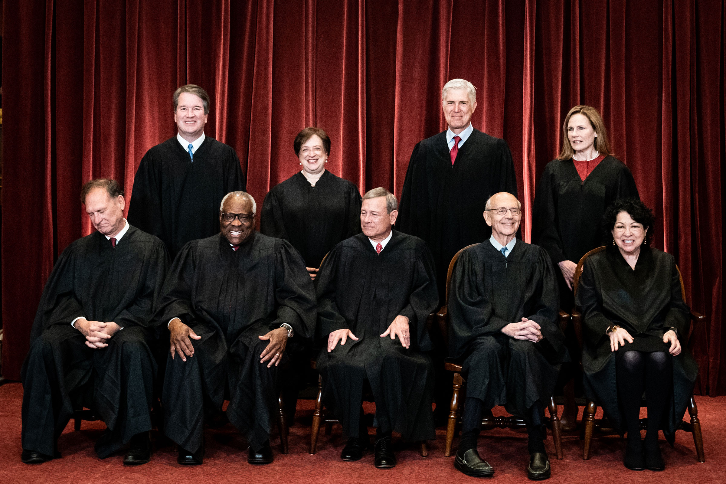 Justices of the U.S. Supreme Court during a formal group photograph at the Supreme Court in Washington, D.C., U.S., on Friday, April 23, 2021.