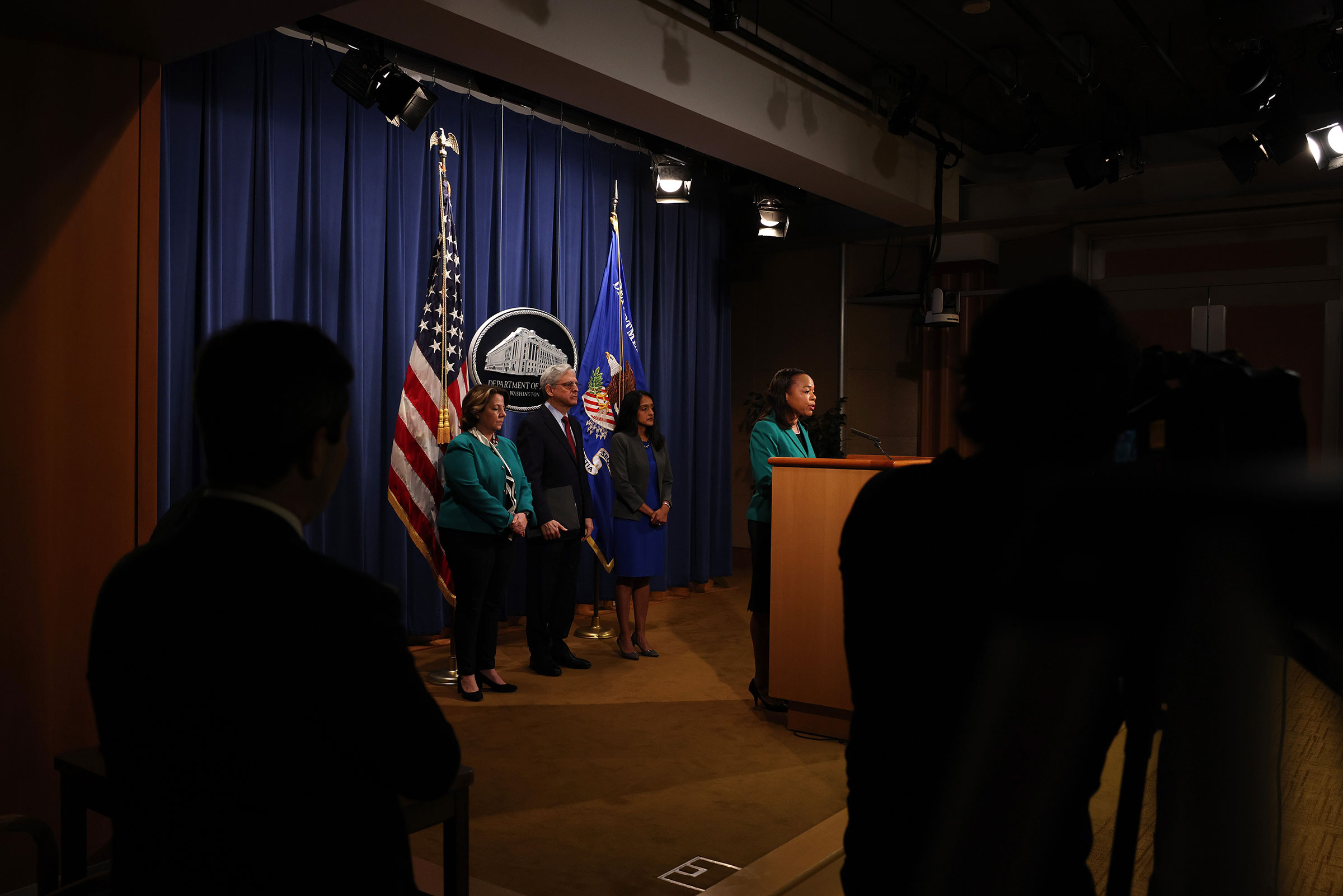 Kristen Clarke, Assistant Attorney General for the Civil Rights Division speaks at a news conference, as Lisa O. Monaco, Deputy Attorney General, Attorney General Merrick Garland, and Vanita Gupta, associate U.S. attorney general, at the Department of Justice in Washington on June 25, 2021.