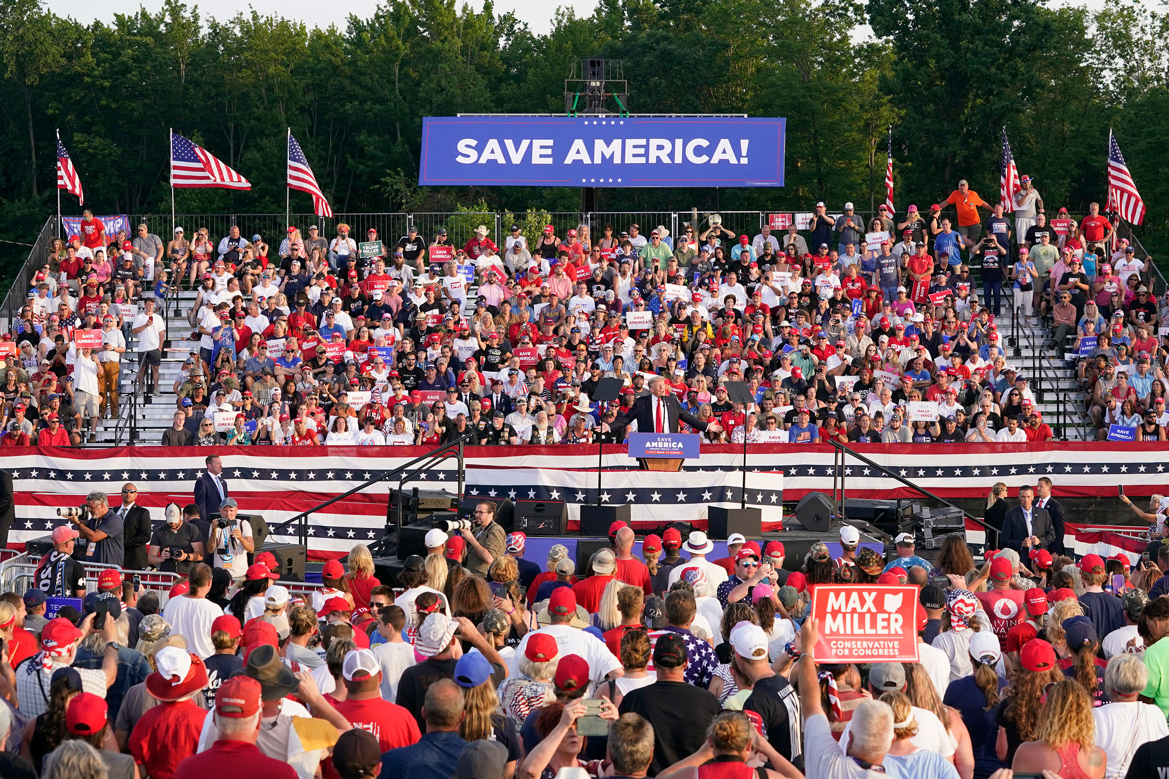 Former President Donald Trump speaks at a rally at the Lorain County Fairgrounds in Wellington, Ohio June 26, 2021.
