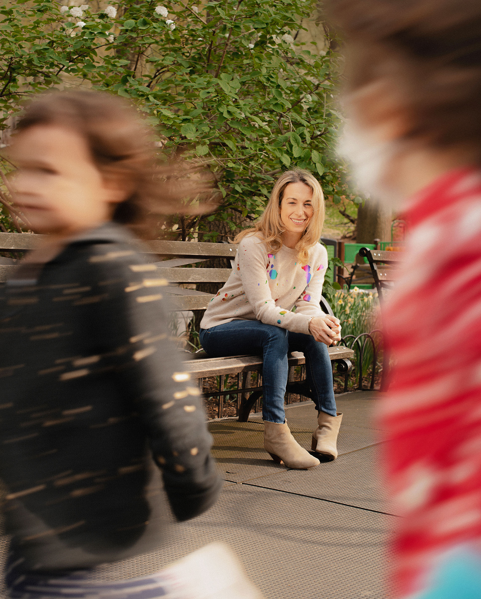 Becky Kennedy, pictured on Manhattan's Upper West Side, lives in New York City with her husband and three young children.
