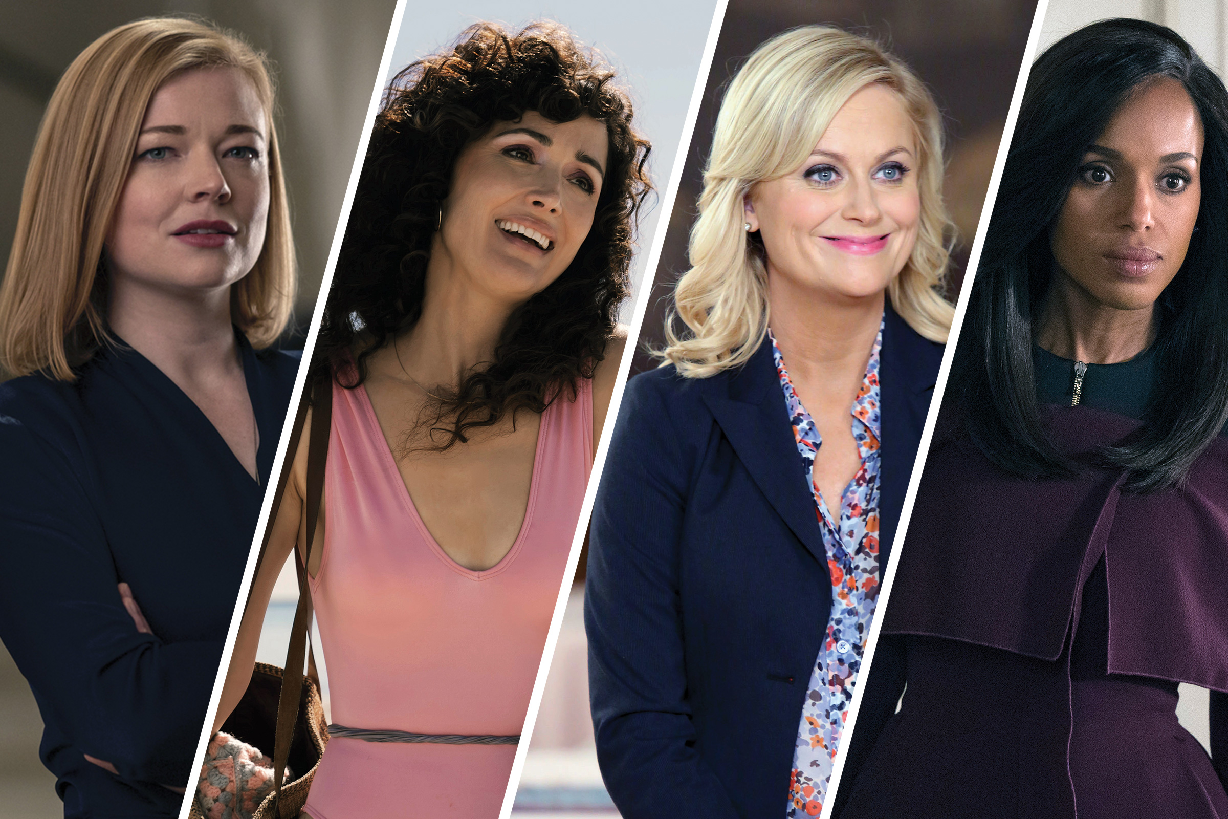 Shiv Roy from Succession, Sheila Rubin in Physical, Leslie Knope in Parks and Recreation and Olivia Pope in Scandal.