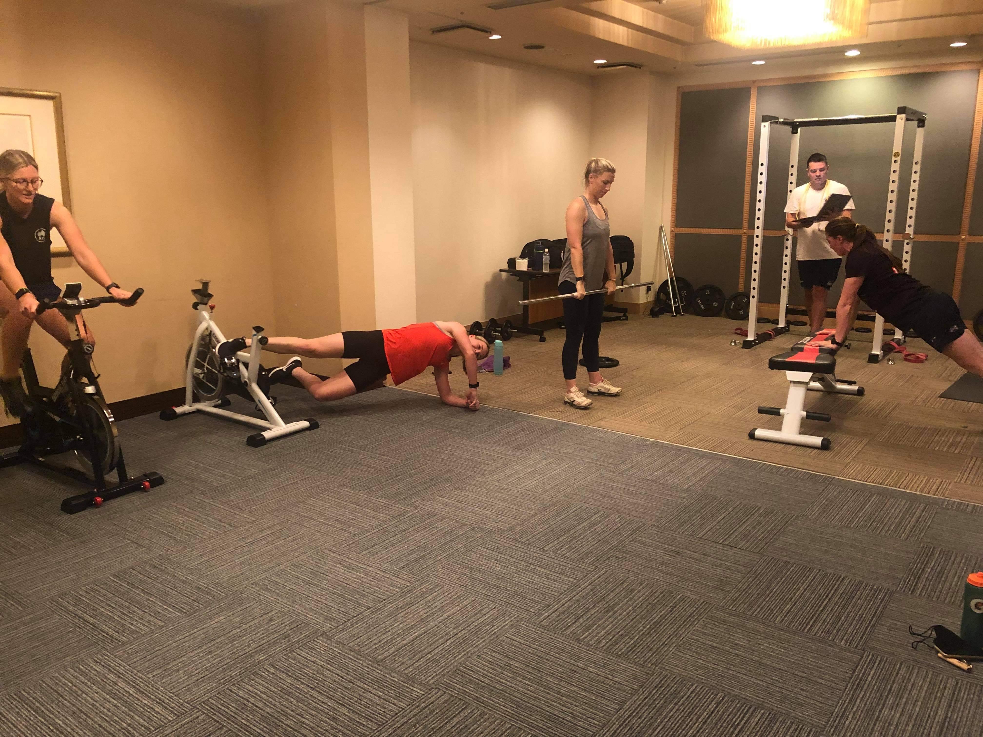The makeshift gym in the Australian softball team's hotel in Ota, Japan.