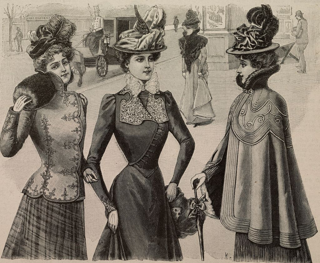 A fashion illustration from 1899 includes ornate feathered hats