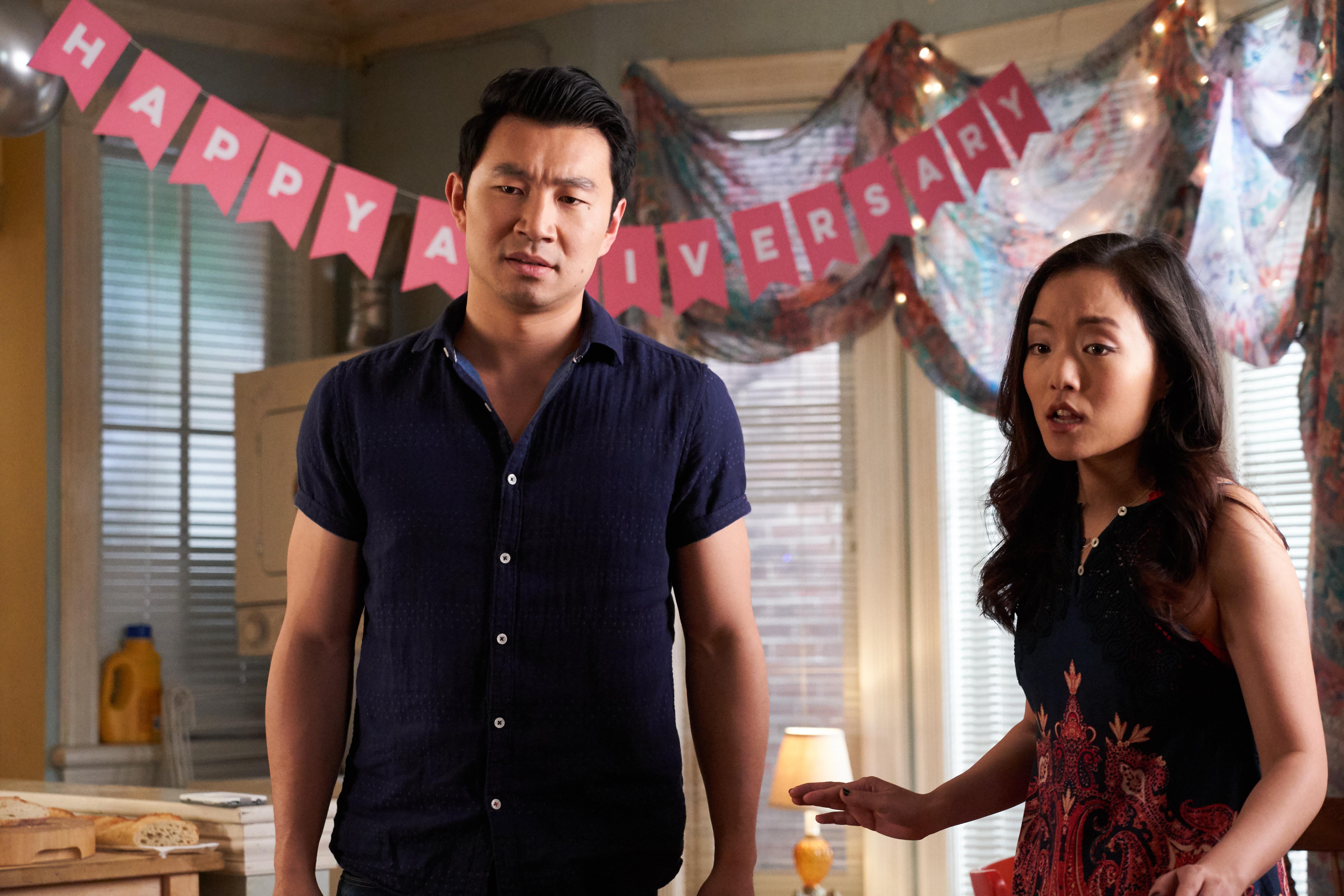 Simu Liu, left, with Andrea Bang in season four of  Kim's Convenience.