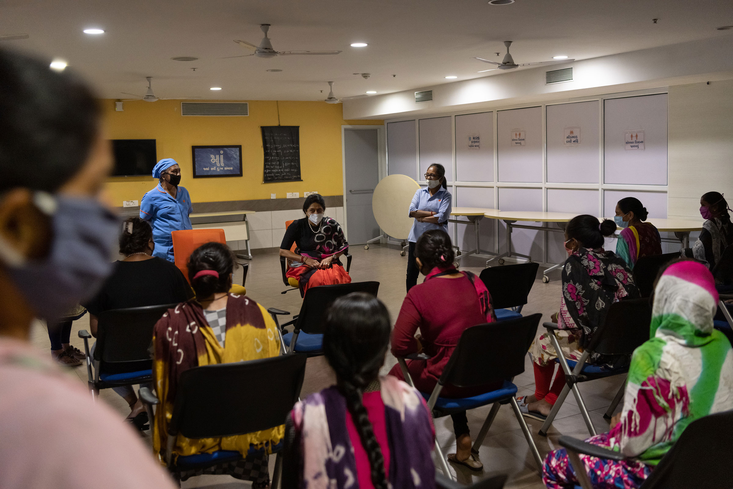 Dr. Nayana Patel, fertility specialist and founder of the Akanksha Hospital, holds a meeting with surrogates in the hospital's basement. The women told TIME that Patel rarely came to speak with them.