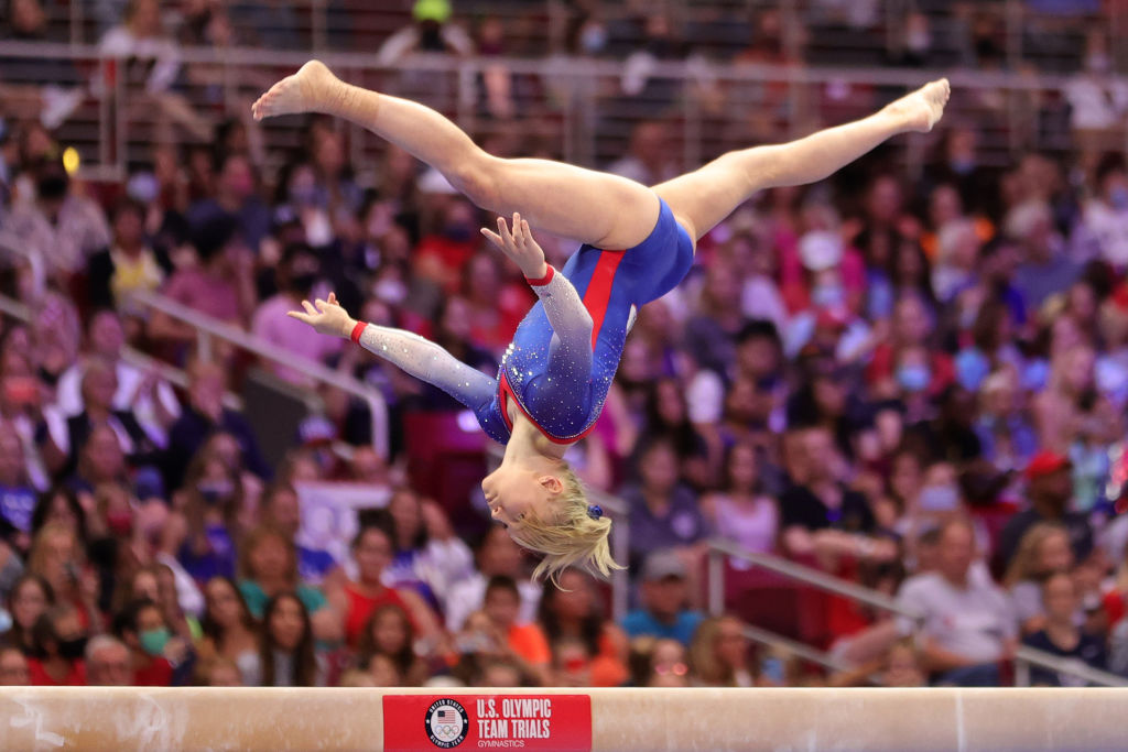 Jade Carey competes on the balance beam during the Women's competition of the 2021 U.S. Gymnastics Olympic Trials at America's Center on June 27, 2021 in St Louis, Missouri.