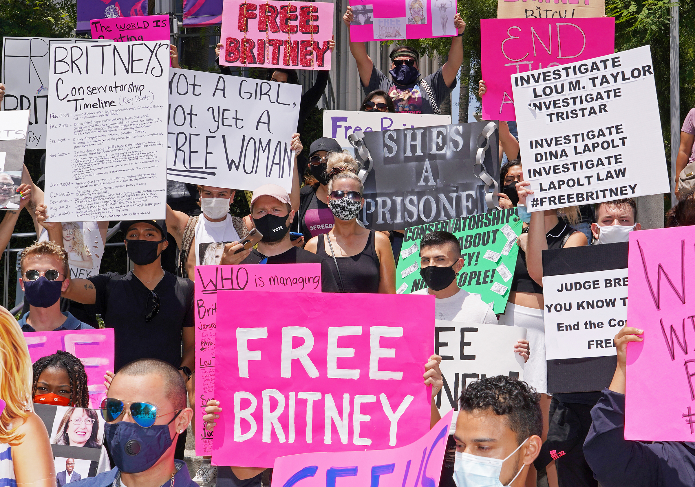 Protesters outside a hearing relating to Spears' conservatorship in Downtown Los Angeles in July 2020.