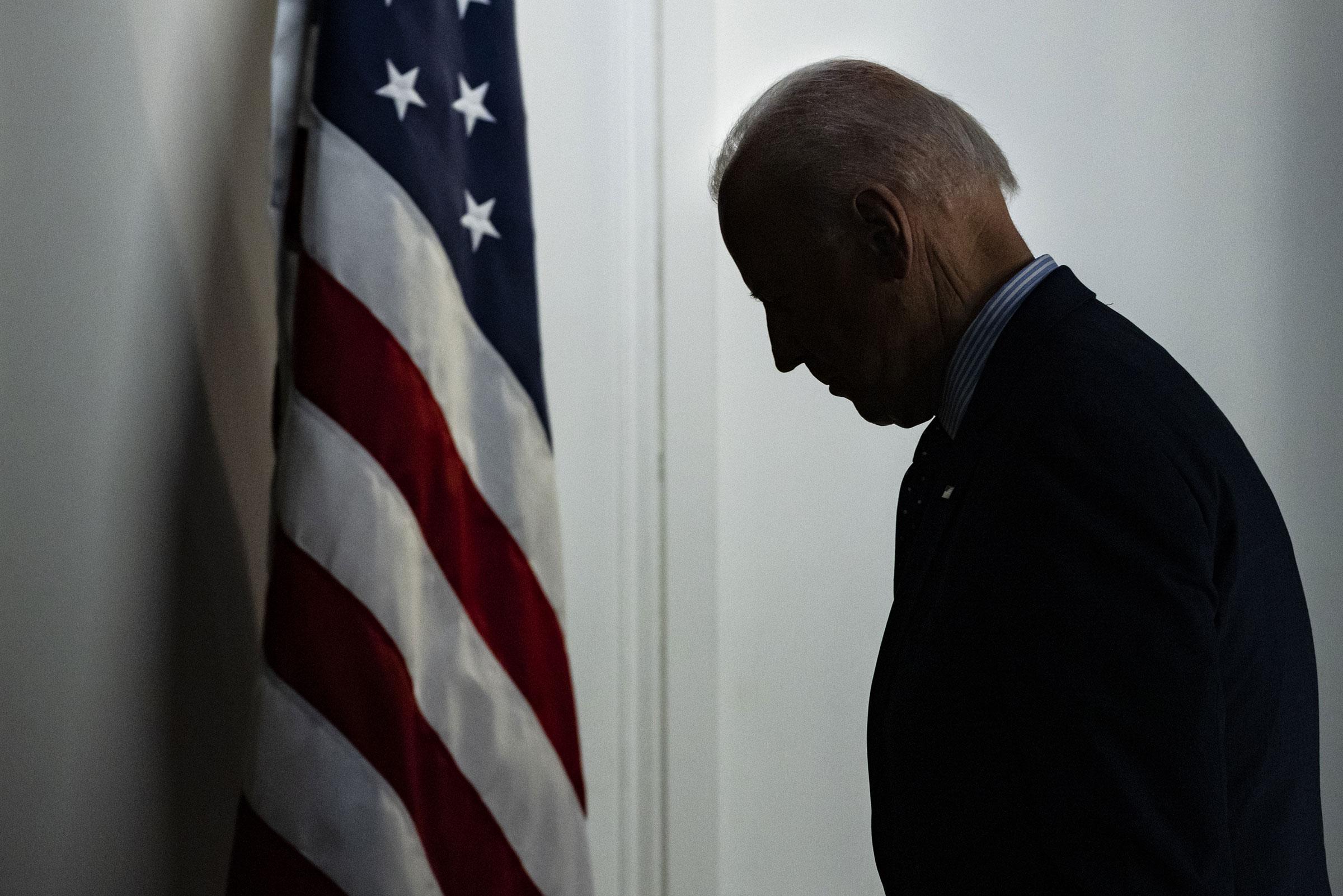 President Joe Biden departs after speaking in the Eisenhower Executive Office Building in Washington on June 2, 2021.