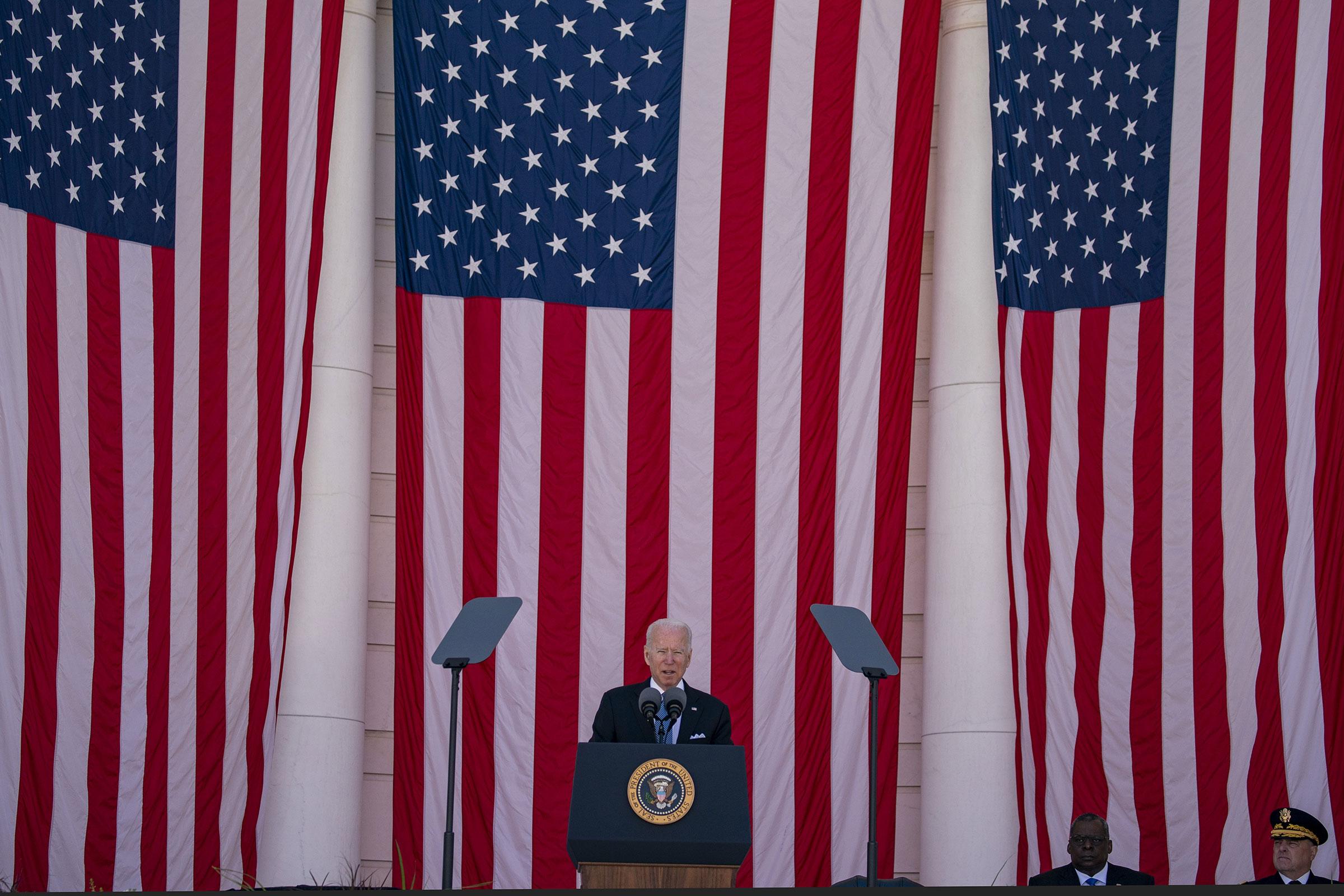 President Joe Biden speaks during a Memorial Day ceremony at Arlington National Cemetery in Arlington, Virginia, on May 31, 2021.