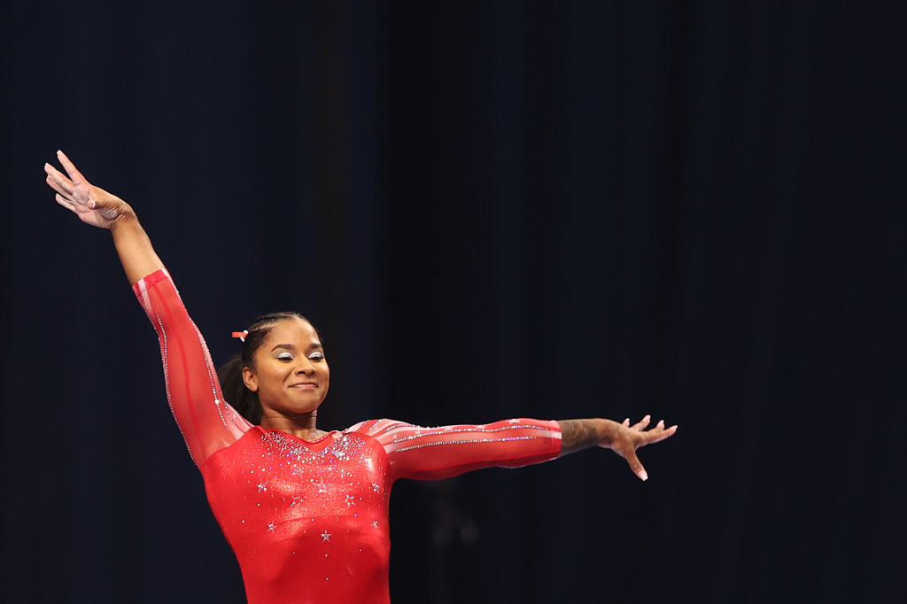 Jordan Chiles competes on the vault during the Women's competition of the 2021 U.S. Gymnastics Olympic Trials at America's Center on June 27, 2021 in St Louis, Missouri.