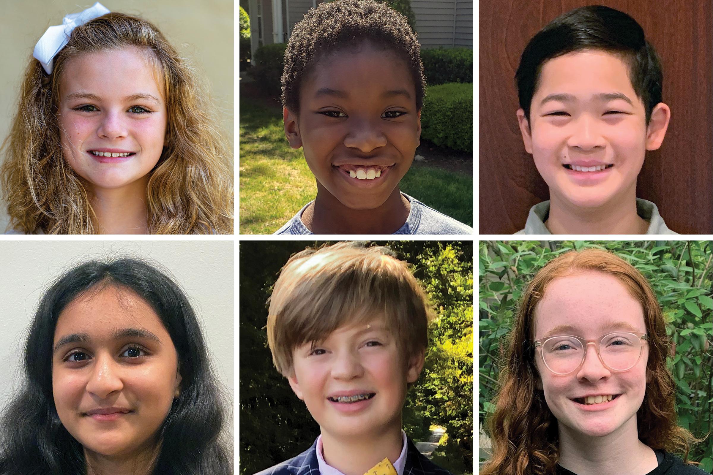 Clockwise from top left: Abby Rogers, Isaiah Magala Destin, Jeremy Liew, Mira McInnes, Roman Peterson, Shanaya Pokharna.