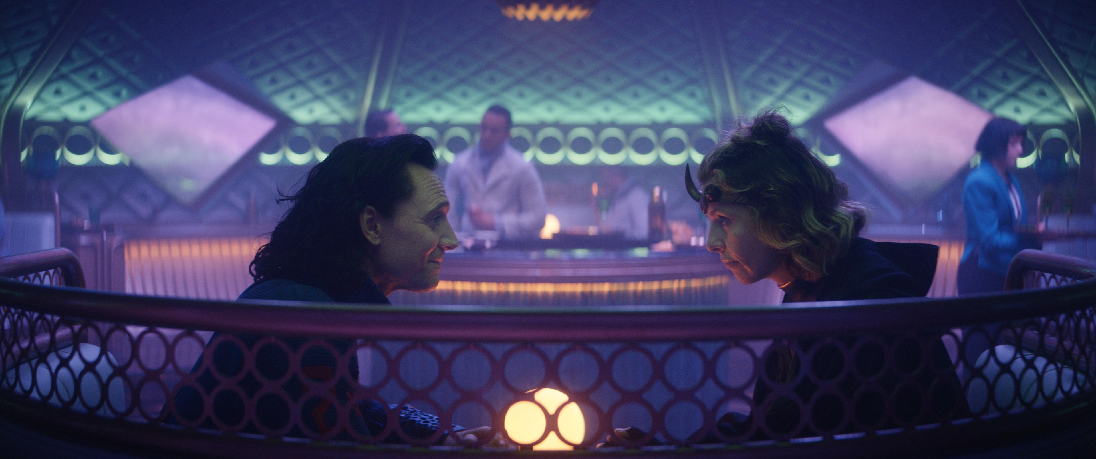 Tom Hiddleston as Loki and Sophia Di Martino as Sylvie in Loki