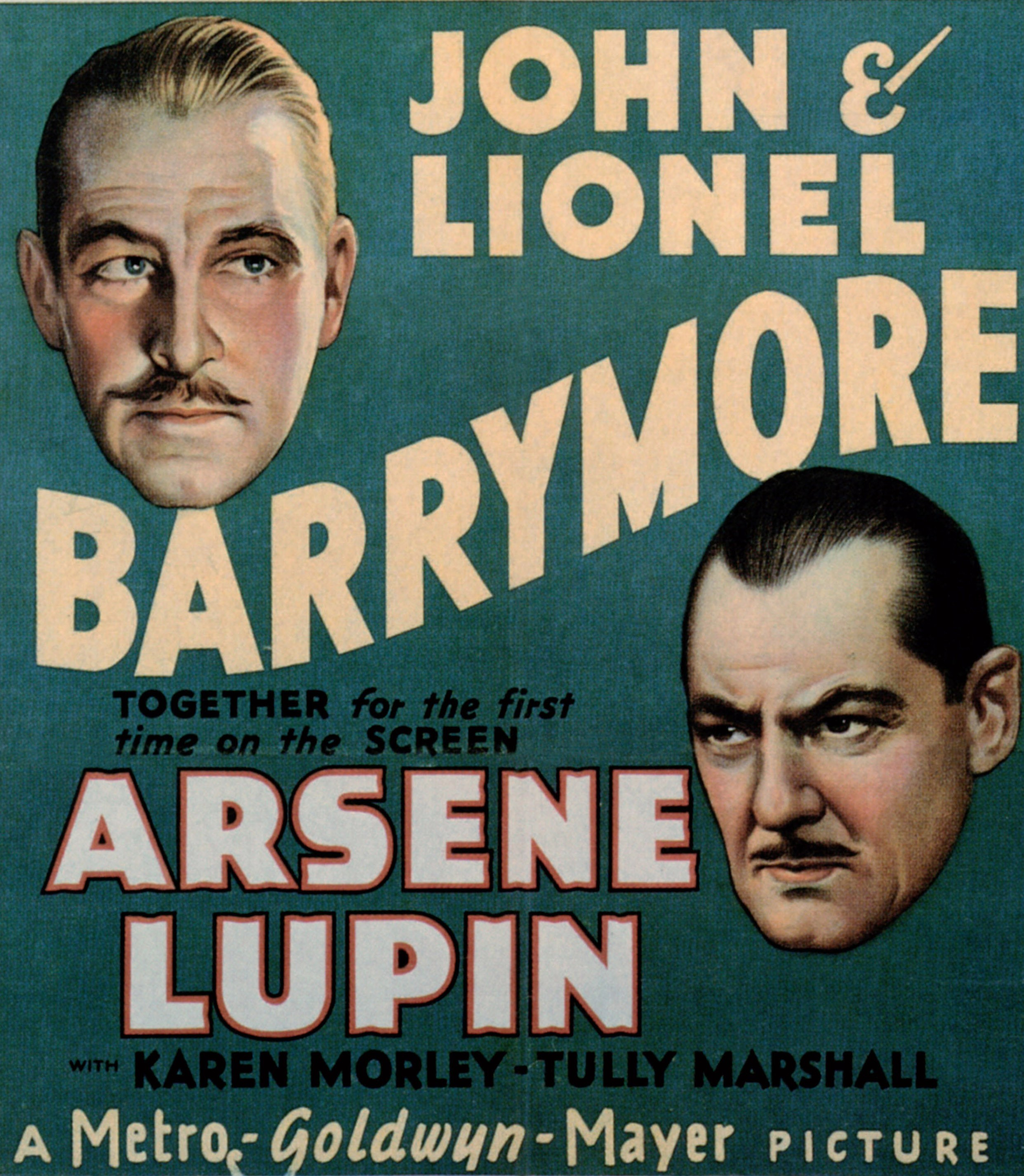 Poster for a 1932 Lupin film adaptation starring John and Lionel Barrymore