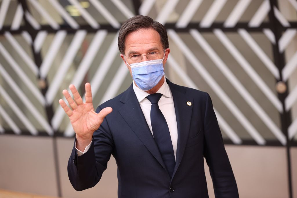 Prime Minister of Netherlands, Mark Rutte attends the first day of a European Union (EU) summit at The European Council Building in Brussels, Belgium on June 24, 2021.