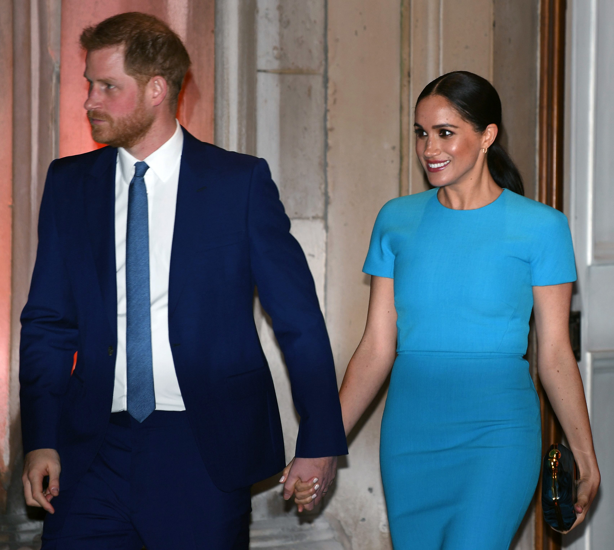 Prince Harry and Meghan Markle leave after attending the Endeavour Fund Awards at Mansion House in London on March 5, 2020.