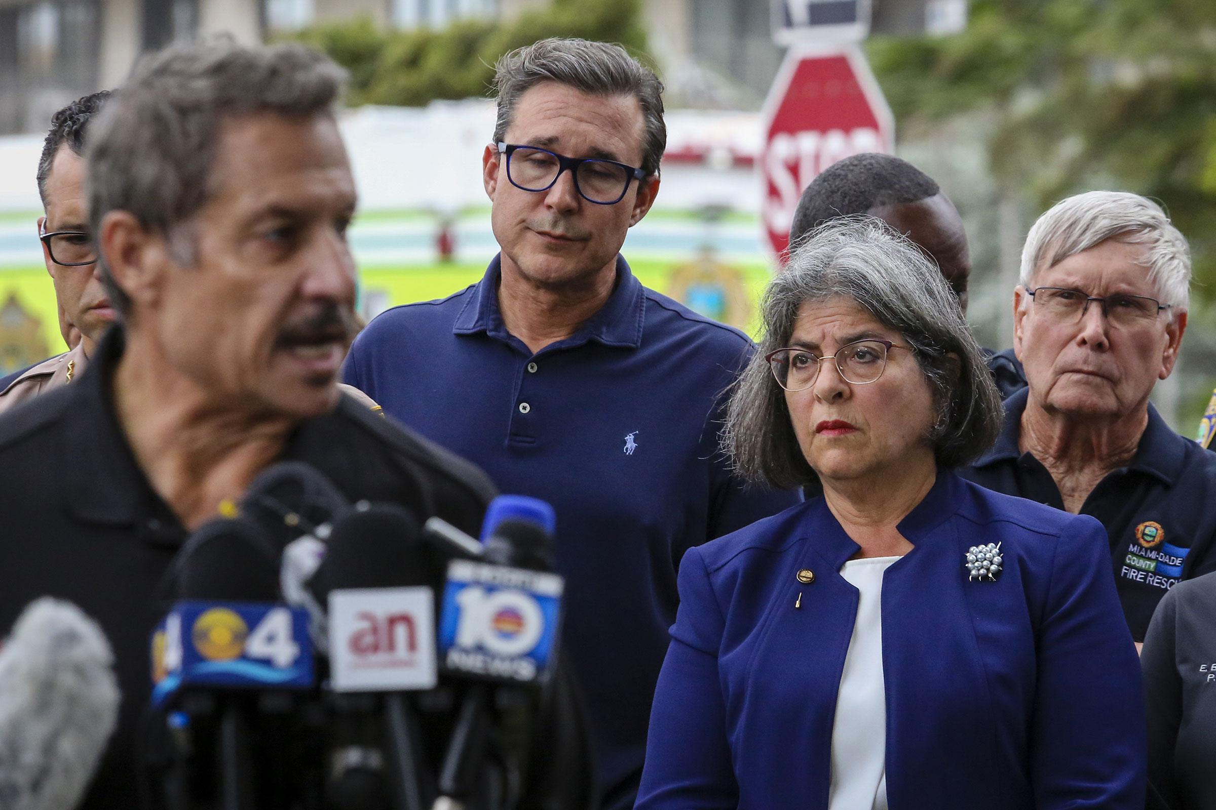 Miami-Dade County Mayor Daniella Levine Cava attends to a press conference on June 24.