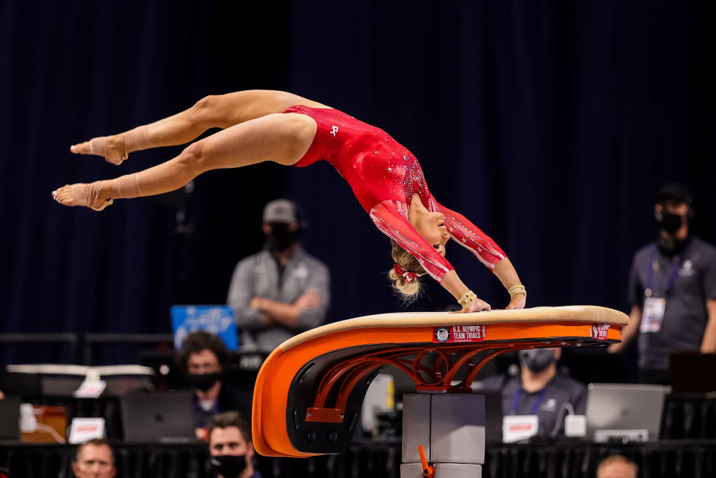 MyKayla Skinner competes on vault during day 2 of the women's 2021 U.S. Olympic Trials - Gymnastics at America's Center on June 25, 2021 in St Louis, Missouri.