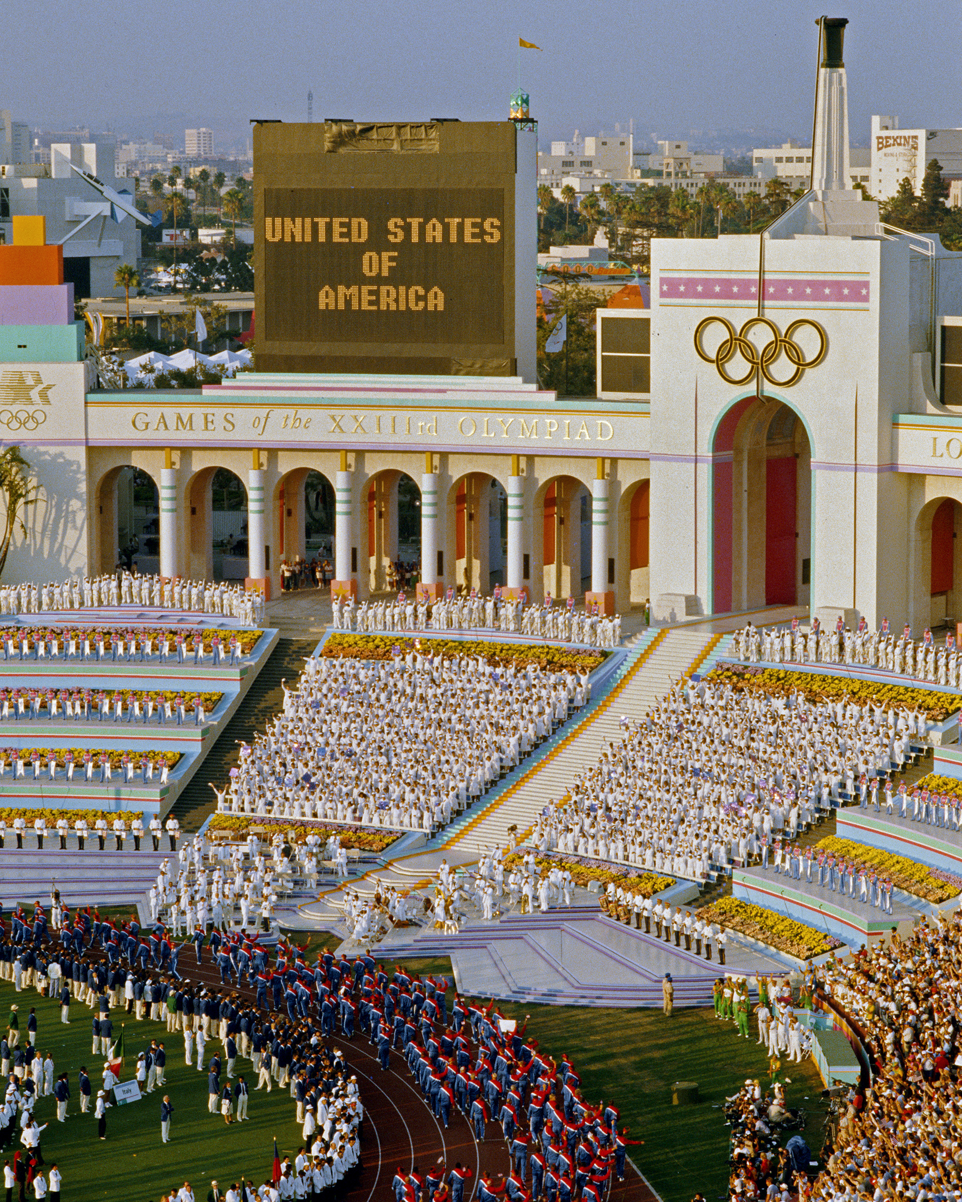 The United States of America Team parade around the stadium infield during the opening ceremony for the XXIII Olympic Games on 28 July 1984 at the Los Angeles Memorial Coliseum in Los Angeles, California.