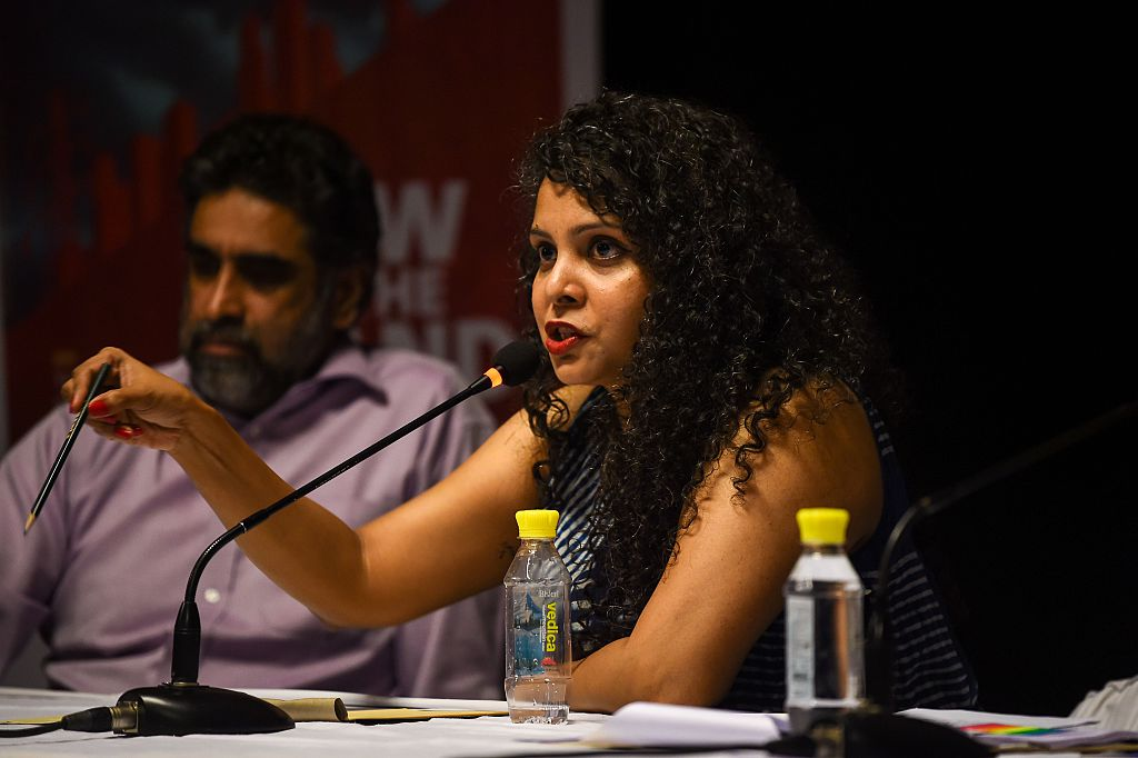 Rana Ayyub speaks during the launch of her book 'Gujarat Files' in New Delhi on May 27, 2016.