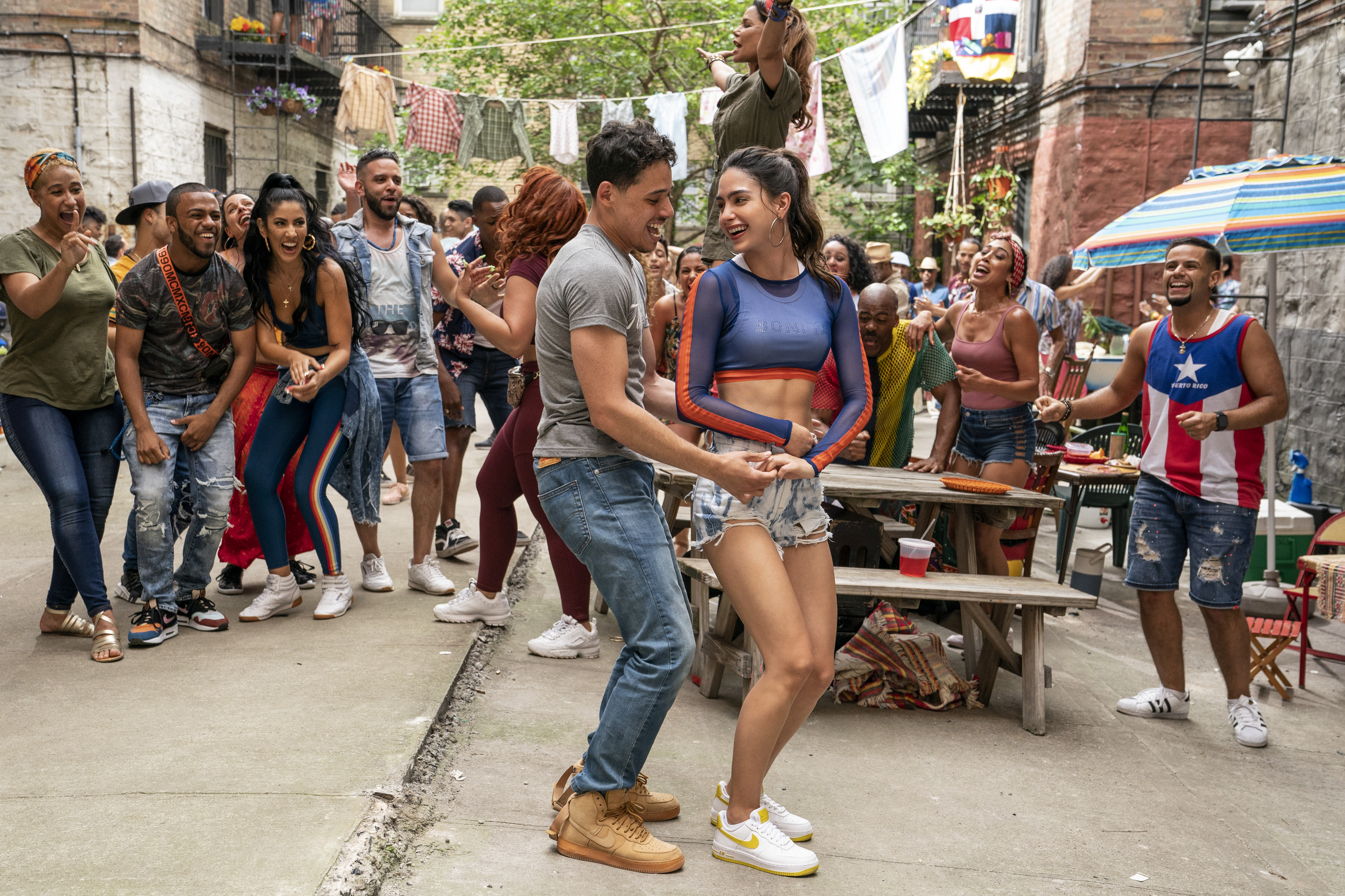 Anthony Ramos as Usnavi and Melissa Barrera as Vanessa in 'In the Heights'