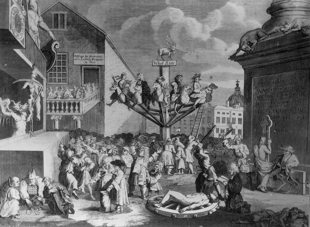 1720, A satirical engraving, by William Hogarth, depicting the South Sea Bubble, a financial scandal involving the East India Company and the Bank of England. (Photo by Edward Gooch/Getty Images)