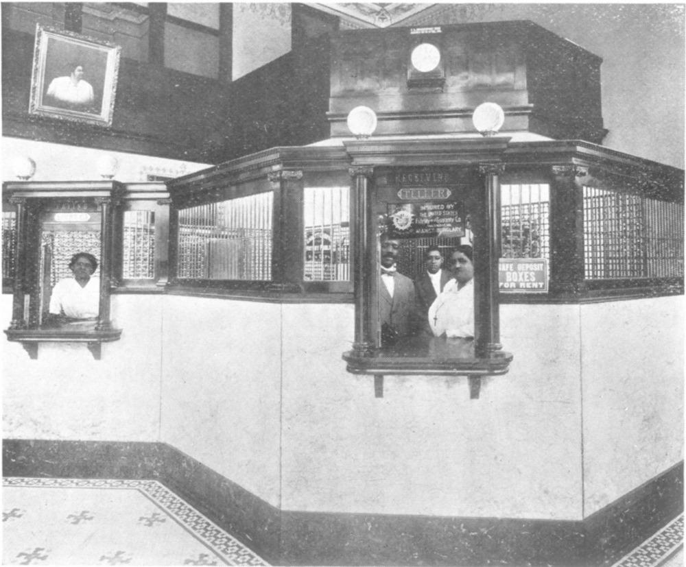 A circa 1917 interior photo of St. Luke's Penny Savings Bank.