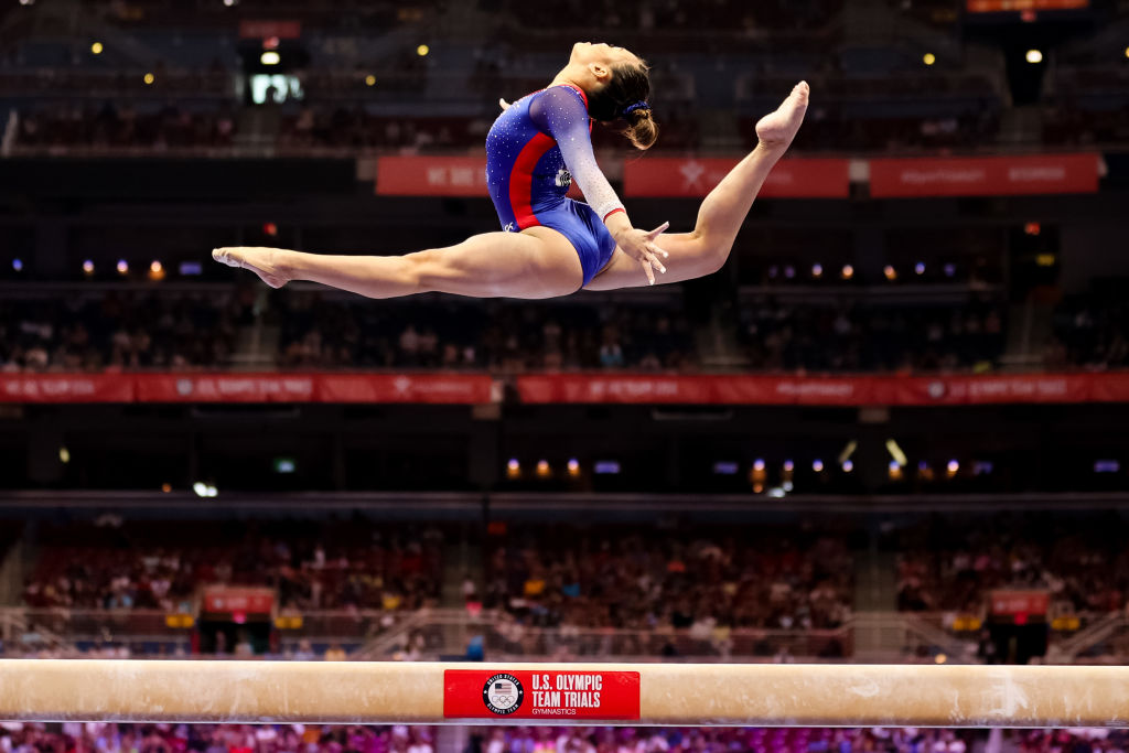 Sunisa Lee competes on beam during day 2 of the women's 2021 U.S. Olympic Trials - Gymnastics at America's Center on June 25, 2021 in St Louis, Missouri.