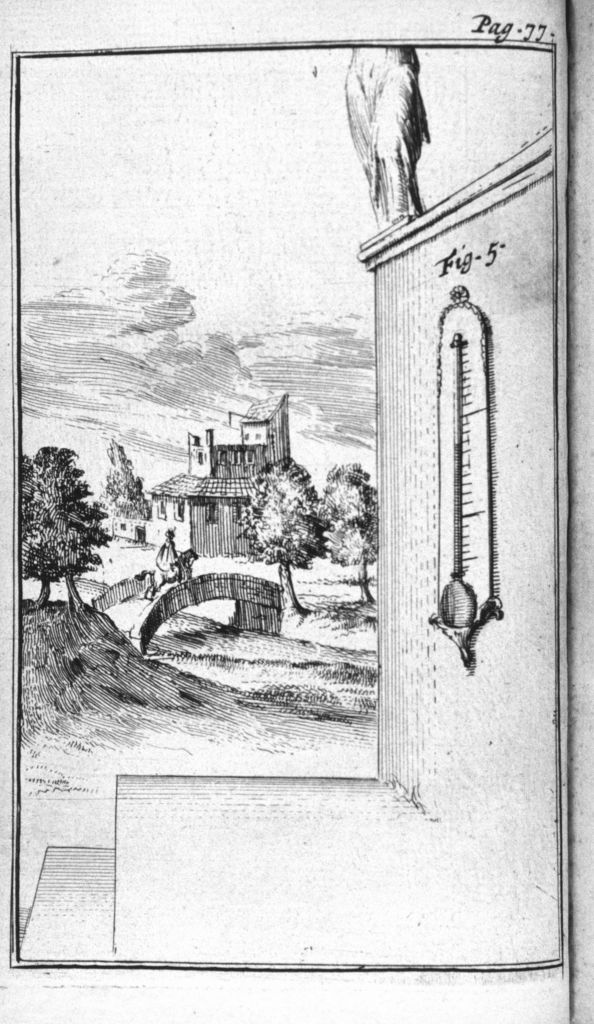 Placement of a thermometer on an outside wall. Figure 1 from 'Traittez de barometres, thermometres, et notiometres, ou hygrometres' by Joachim d'Alence, Published in 1688.